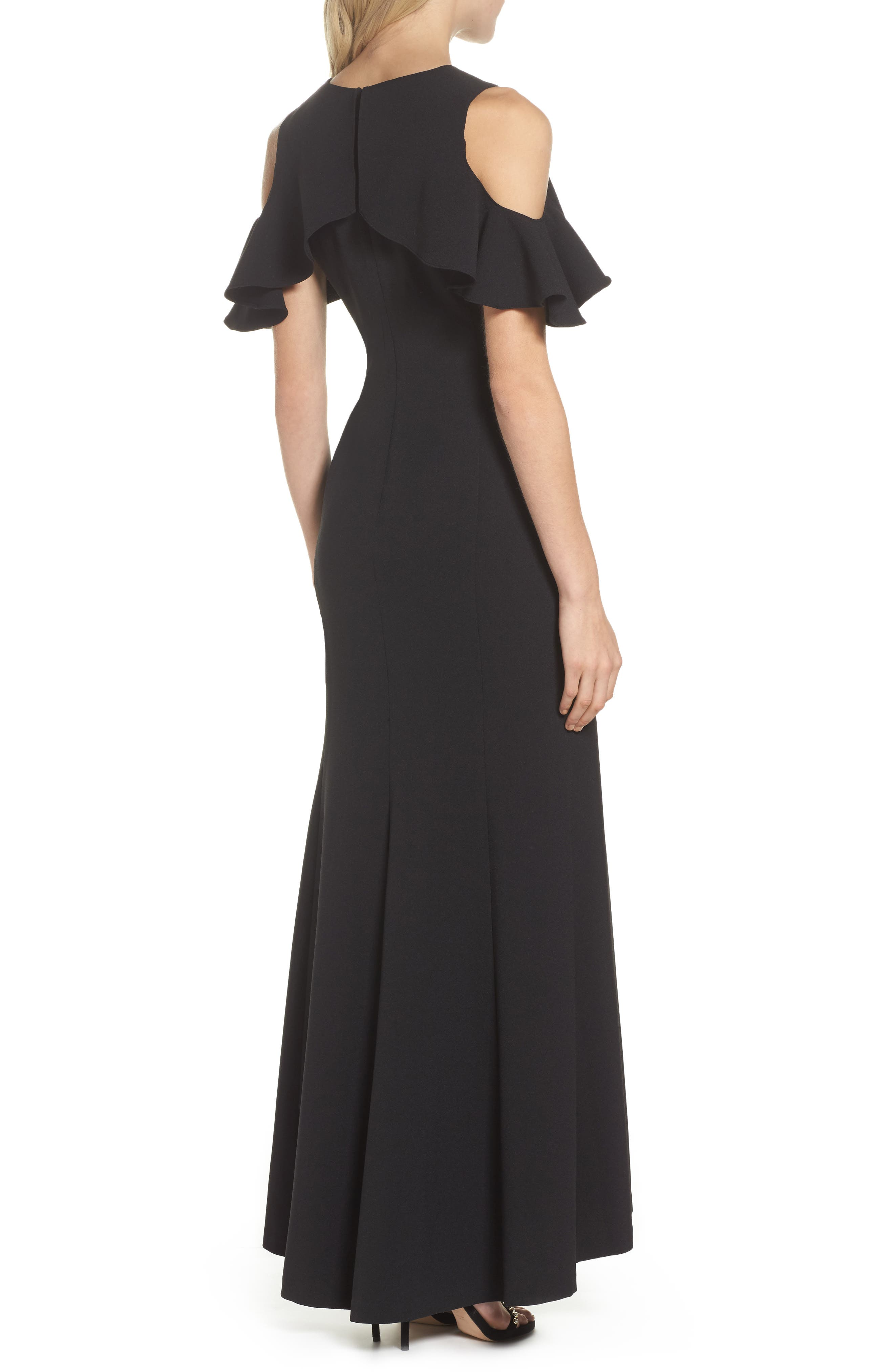 Ruffle Cold Shoulder Crepe Gown,                             Alternate thumbnail 2, color,                             Black
