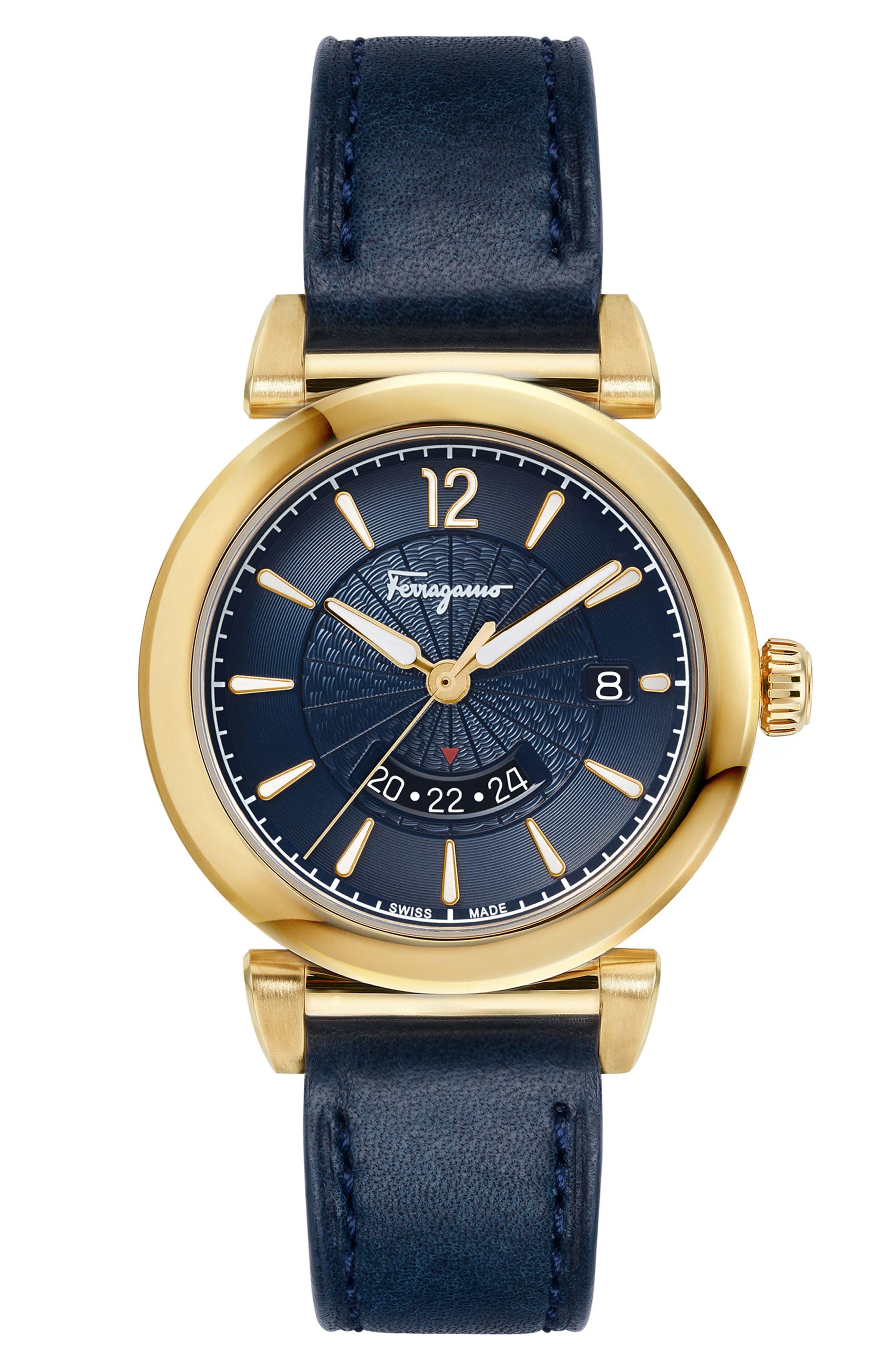 Feroni Leather Strap Watch, 40mm,                             Main thumbnail 1, color,                             Blue/ Gold