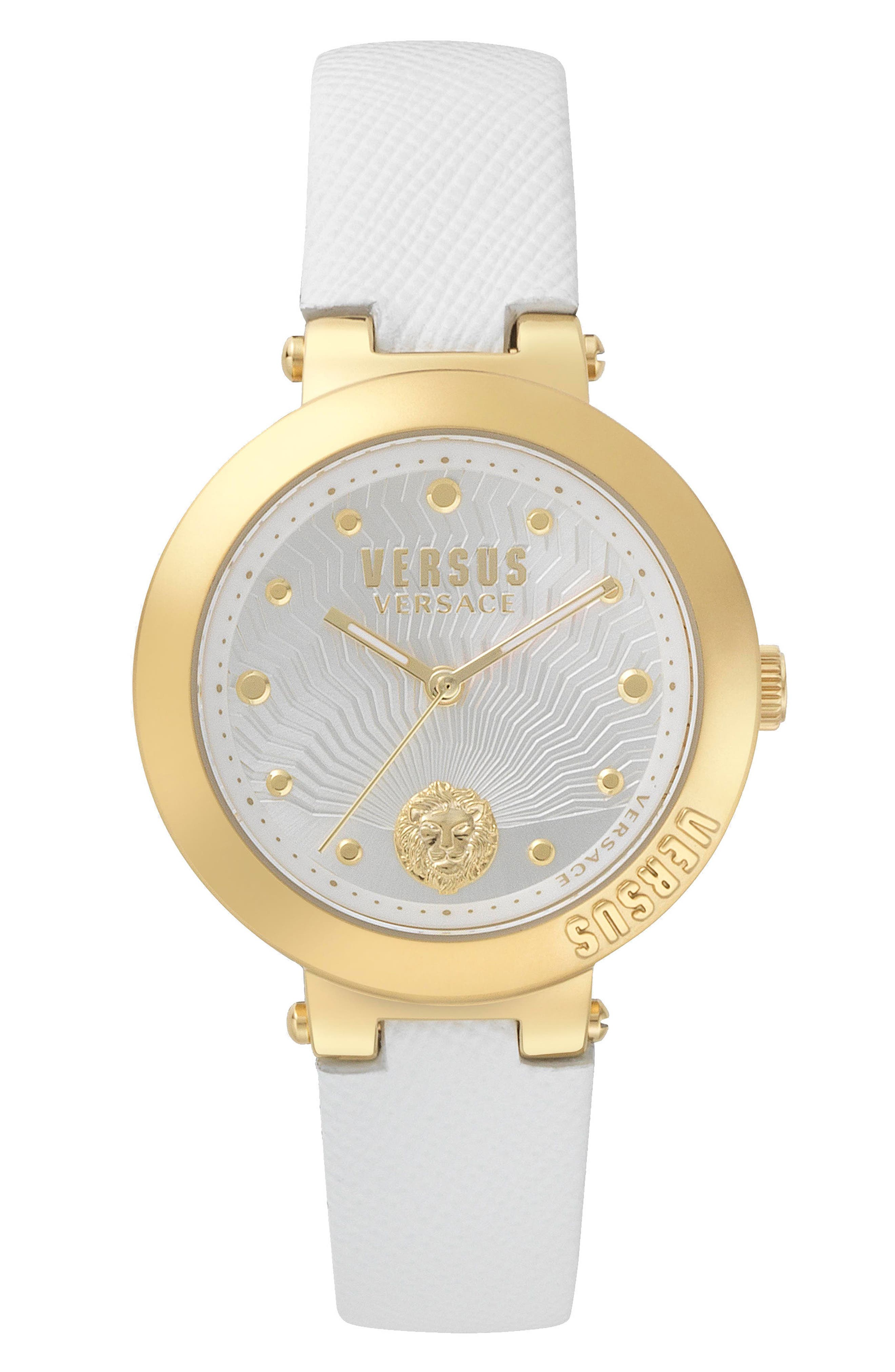 VERSUS by Versace Lantau Island Leather Strap Watch, 36mm,                         Main,                         color, White/ Gold