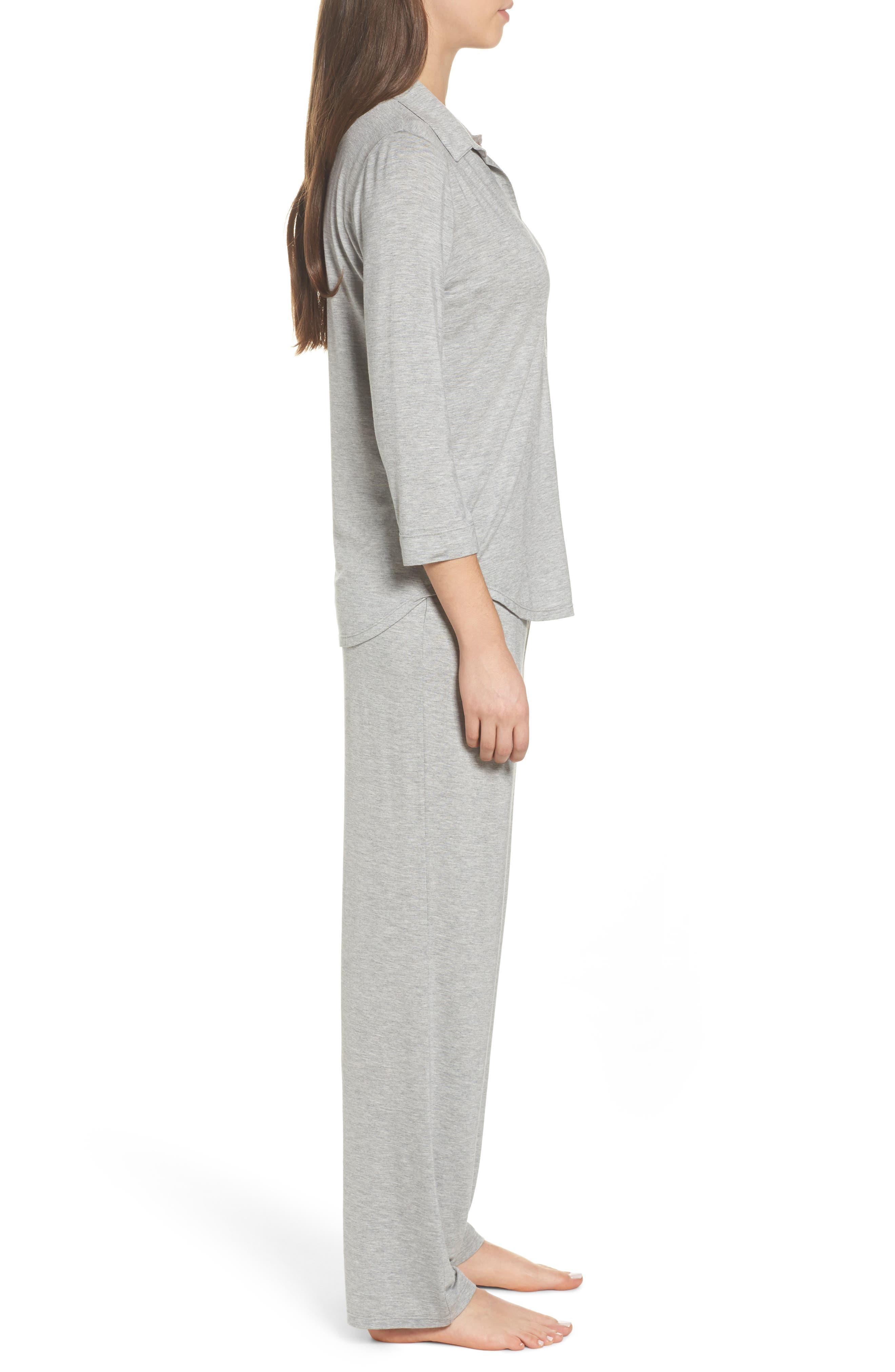 Jersey Pajamas,                             Alternate thumbnail 3, color,                             Heather Grey Feeder Stripe