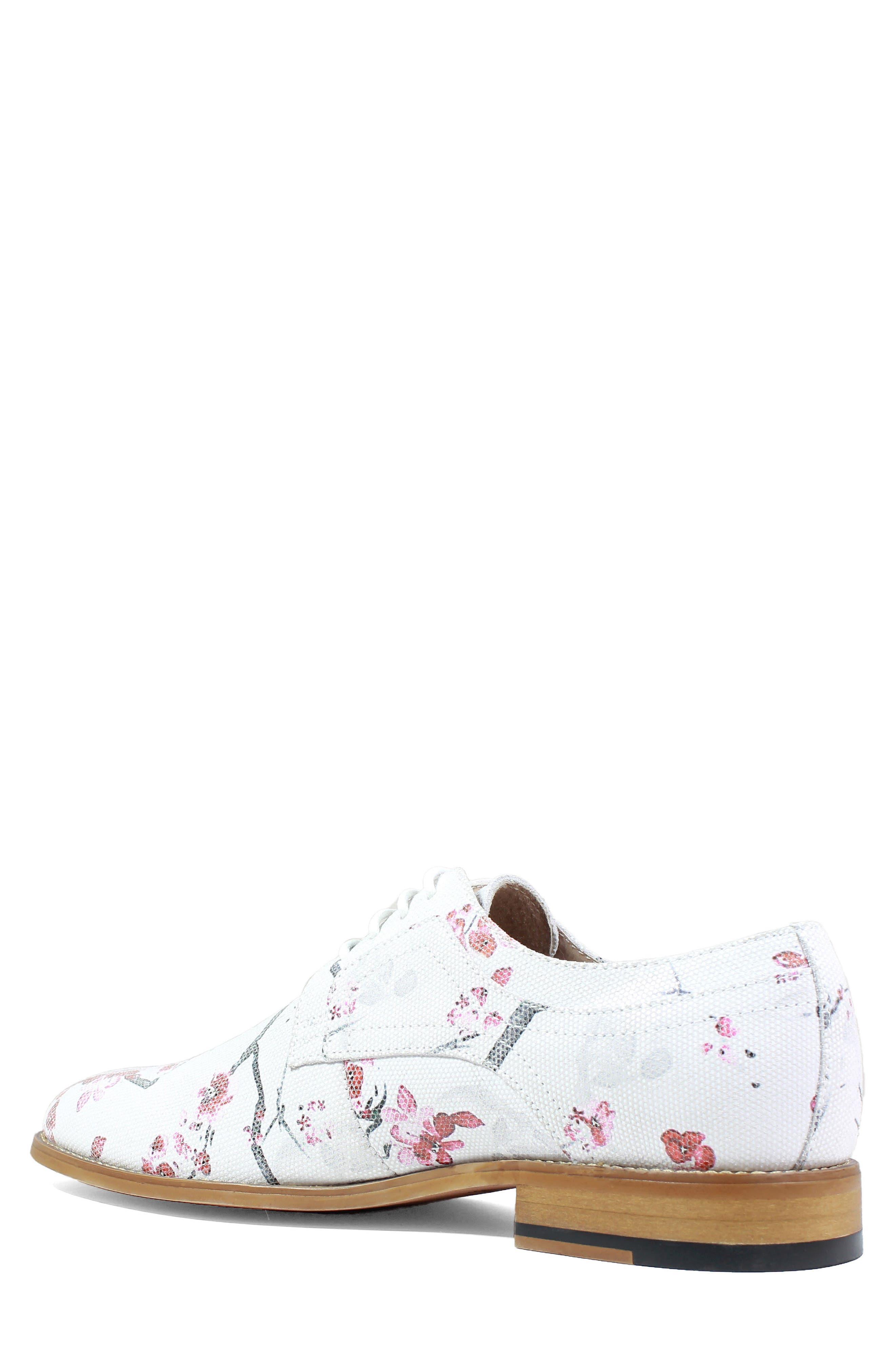 Dandy Print Plain Toe Derby,                             Alternate thumbnail 2, color,                             White Leather