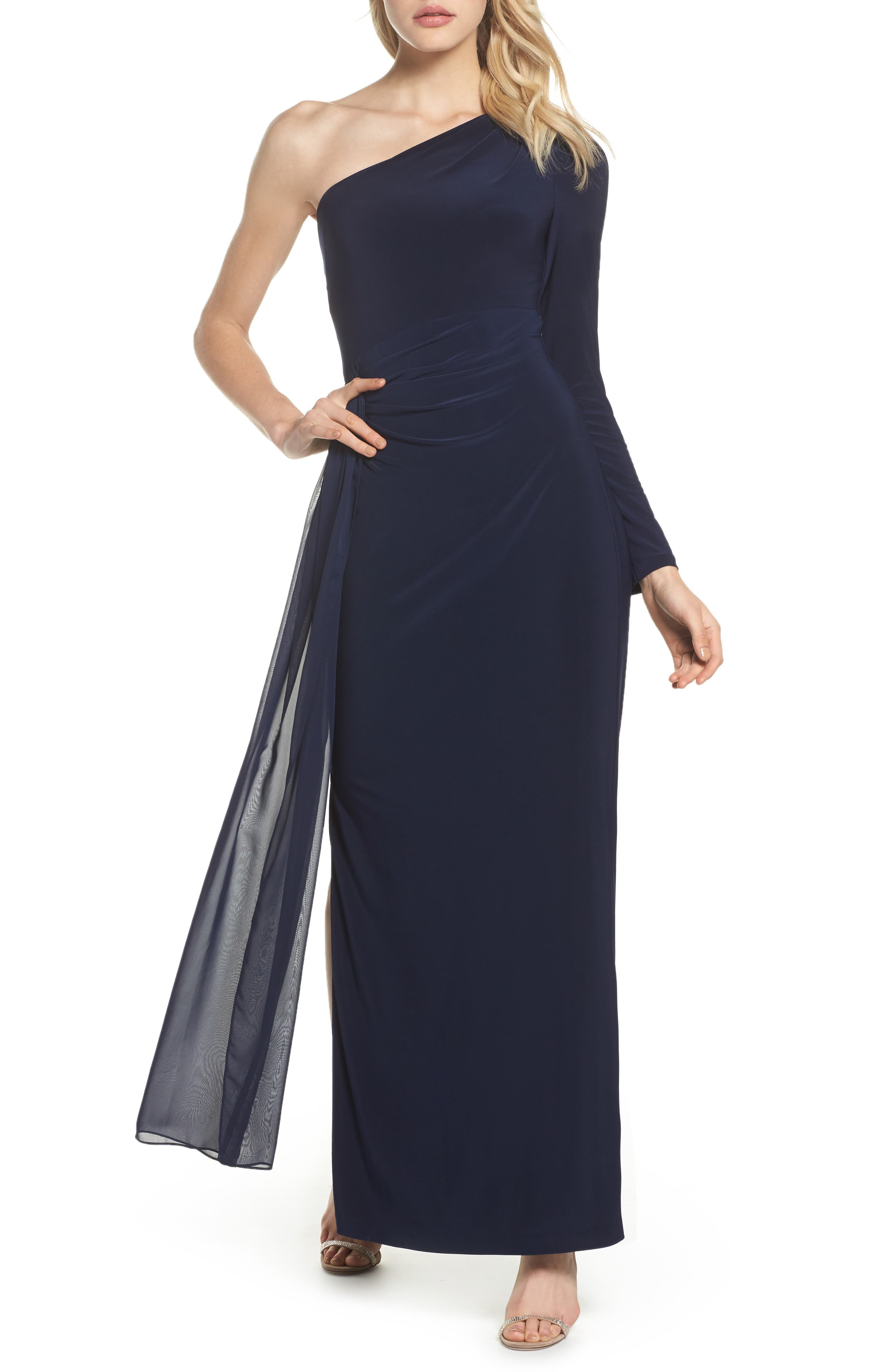 Chiffon Overlay One-Shoulder Gown,                         Main,                         color, Navy