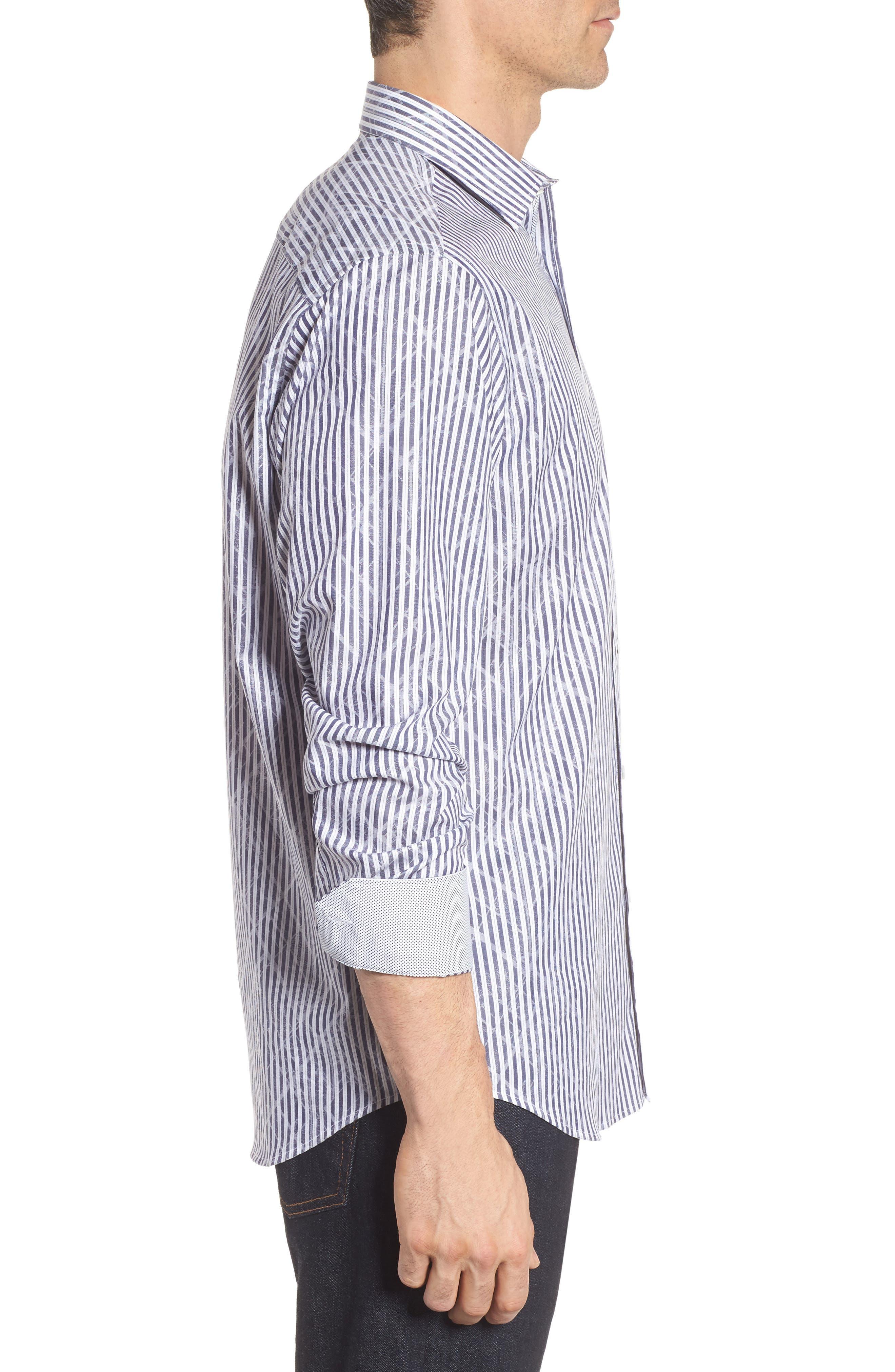 Classic Fit Stripe Sport Shirt,                             Alternate thumbnail 3, color,                             Midnight
