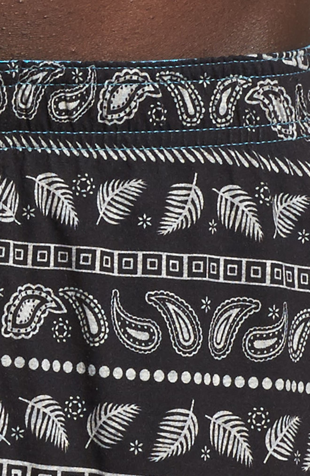 Paisley Stripe Boxers,                             Alternate thumbnail 4, color,                             Black