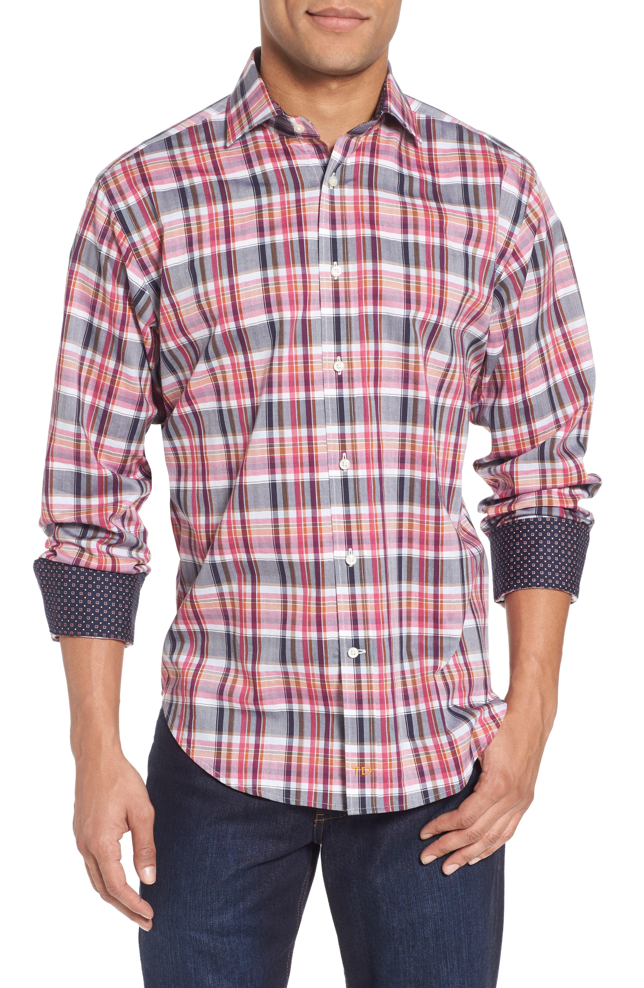 Regular Fit Plaid Sport Shirt,                         Main,                         color, Wine