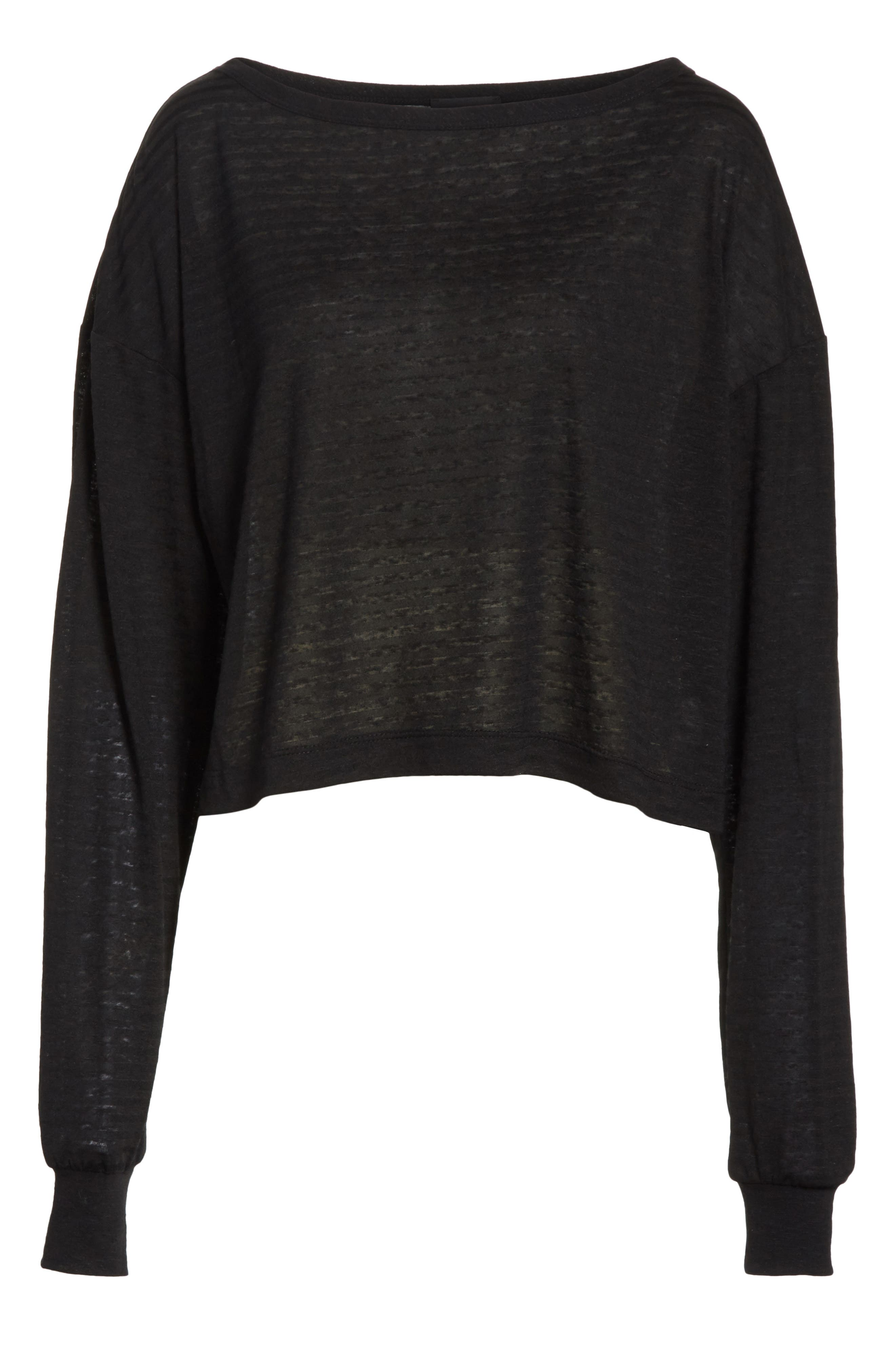 Holton Boat Neck Crop Tee,                             Alternate thumbnail 6, color,                             Black