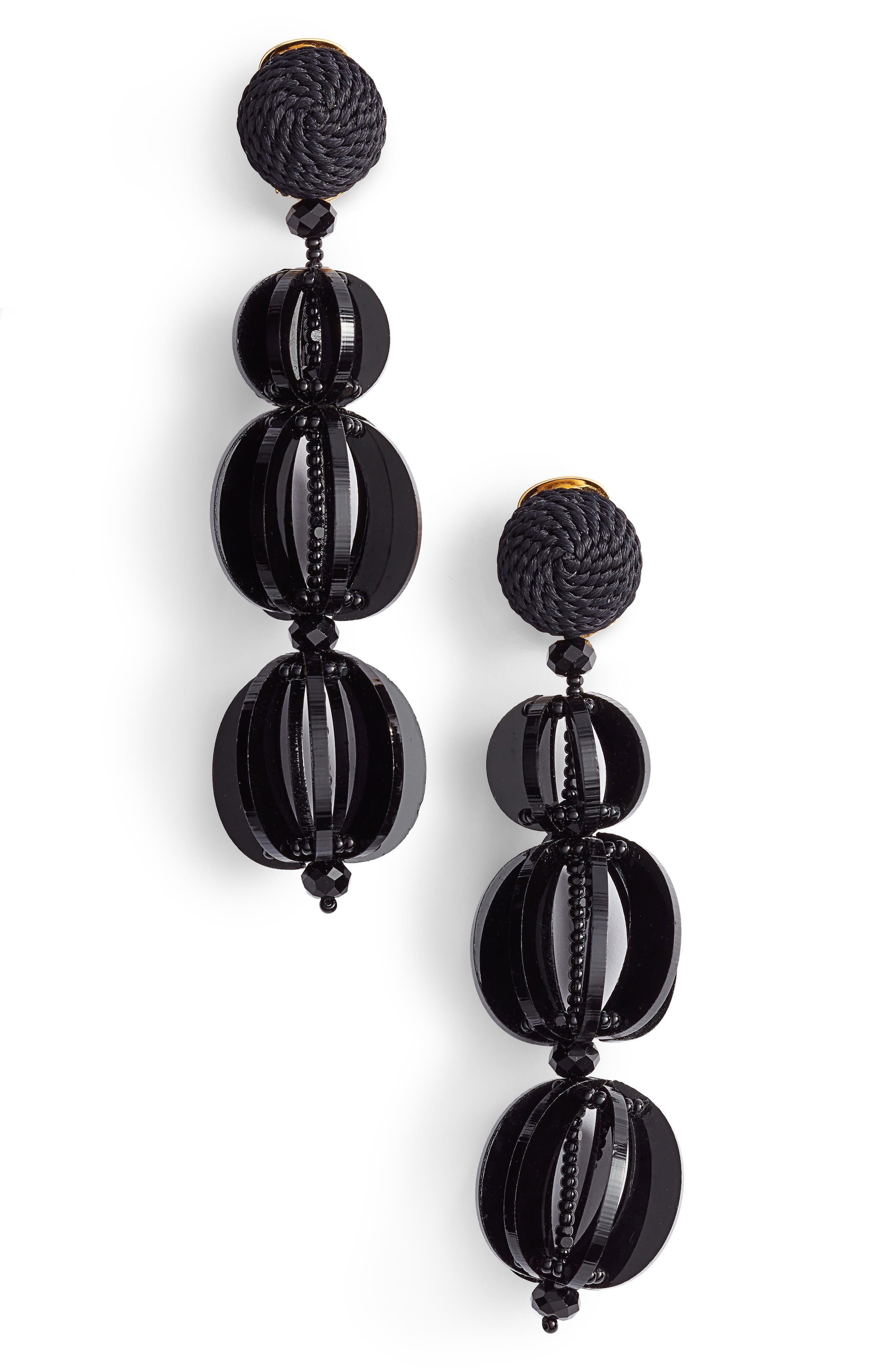 Beaded Drop Earrings,                         Main,                         color, Black
