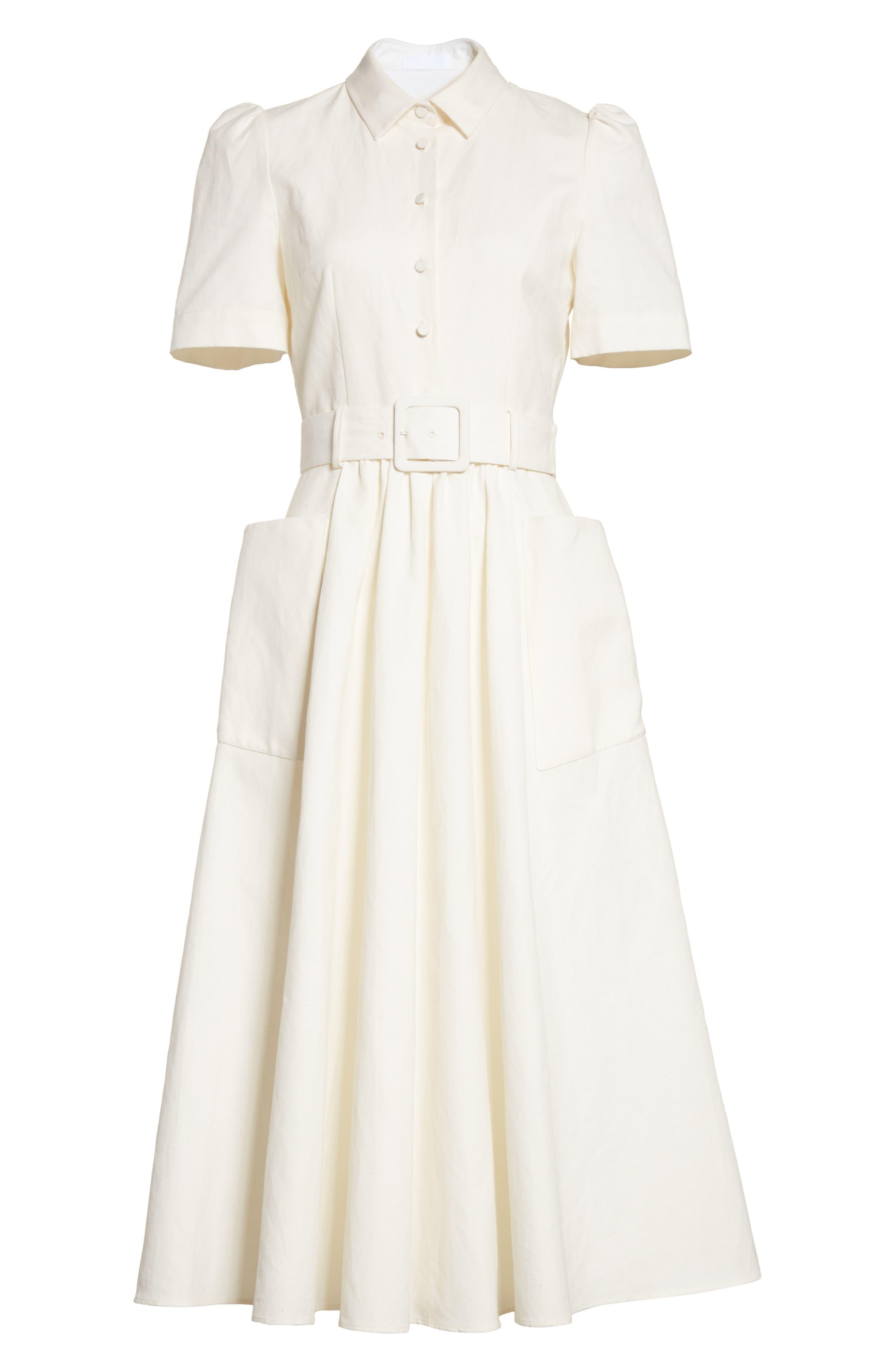 Linen & Cotton Shirtdress,                             Alternate thumbnail 7, color,                             Ivory