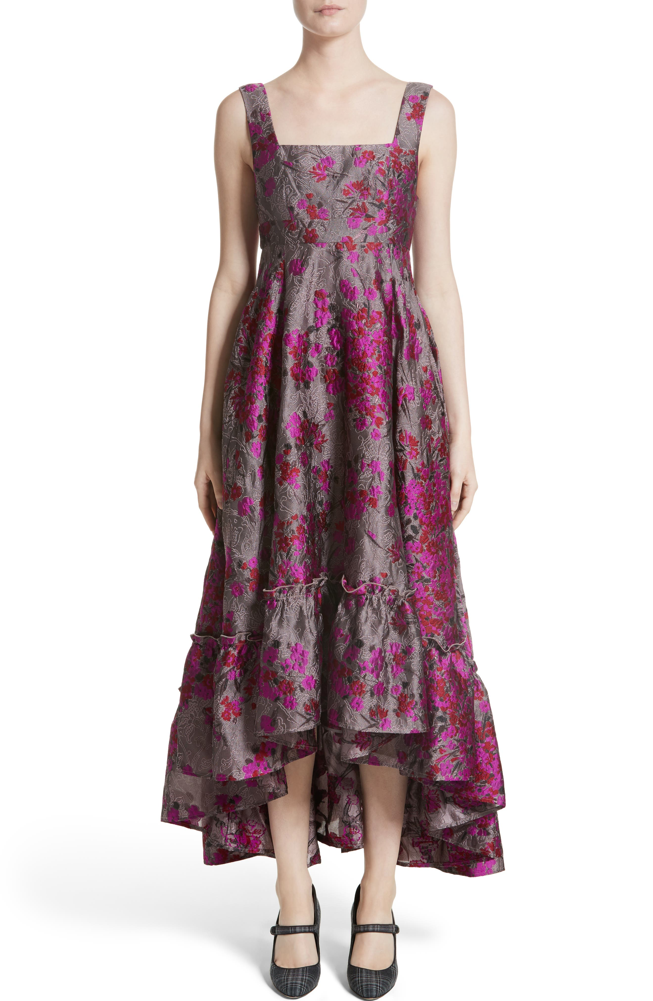 Metallic Jacquard Midi Dress,                             Main thumbnail 1, color,                             Magenta