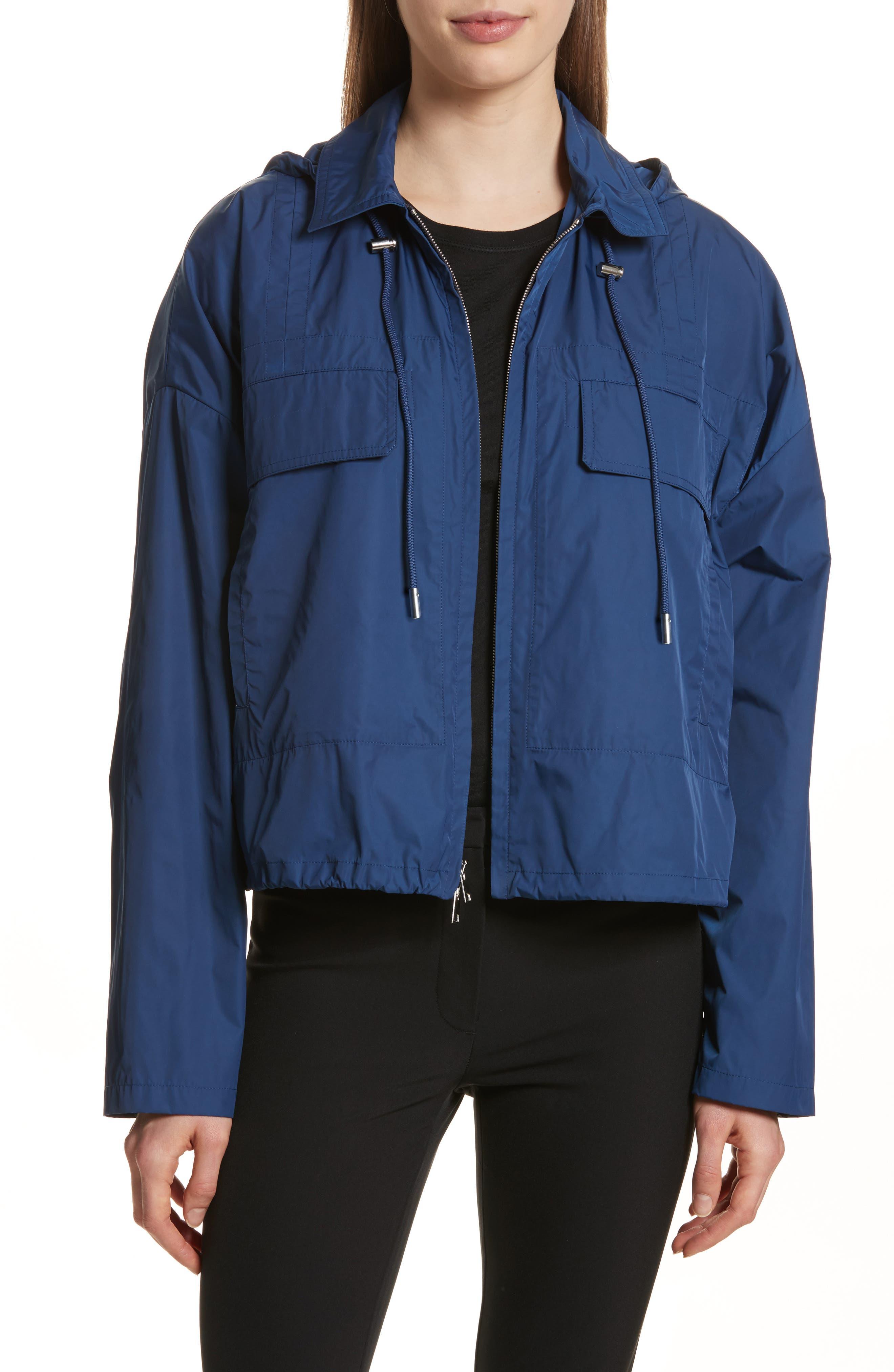 Active Twill Crop Hooded Jacket,                             Main thumbnail 1, color,                             Liberty Blue