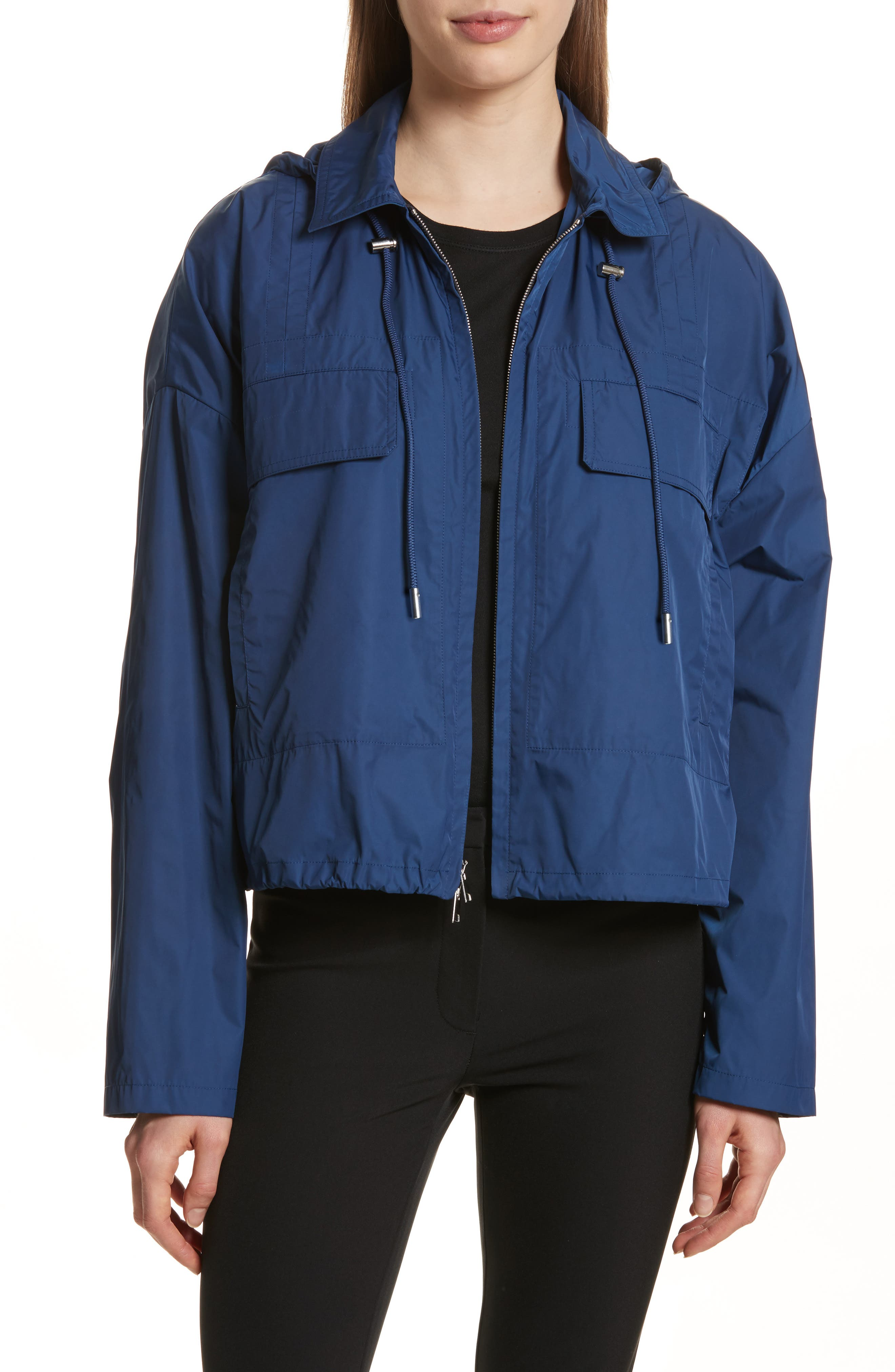 Active Twill Crop Hooded Jacket,                         Main,                         color, Liberty Blue