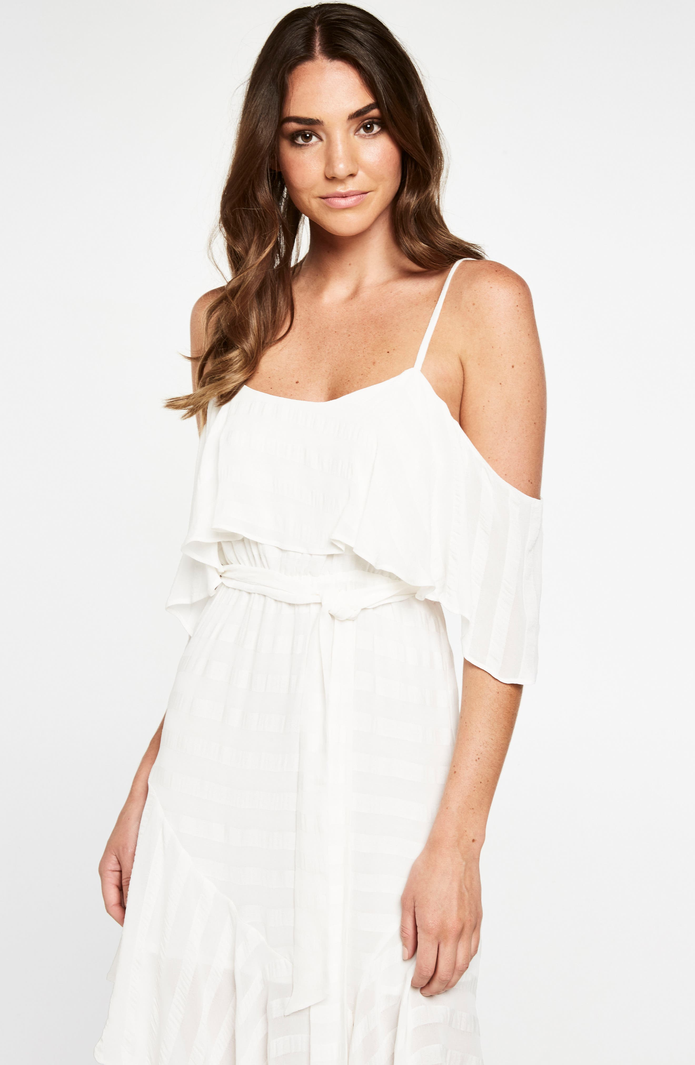 Elle Frill Cold Shoulder Dress,                             Alternate thumbnail 2, color,                             Ivory