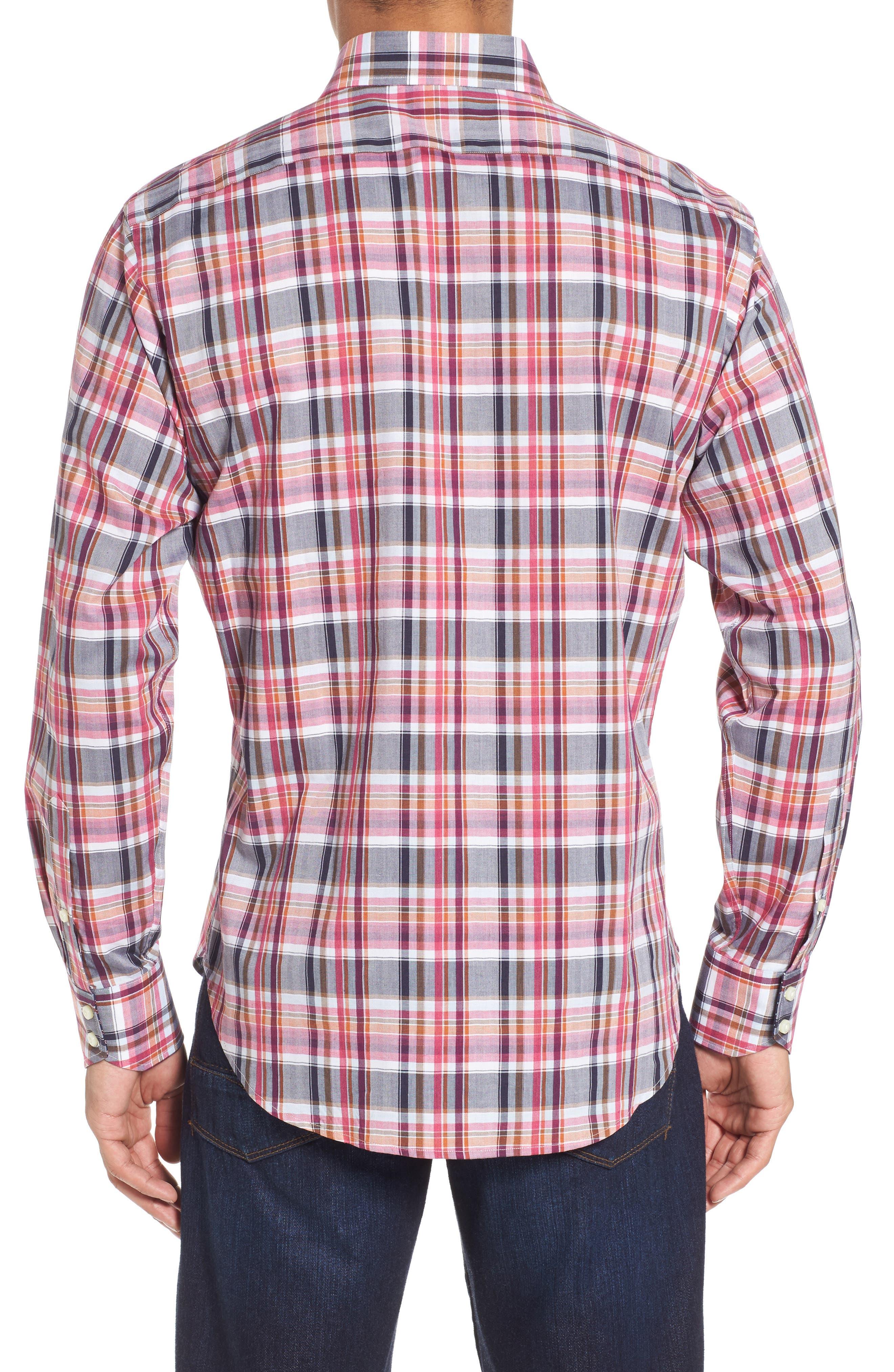 Regular Fit Plaid Sport Shirt,                             Alternate thumbnail 2, color,                             Wine