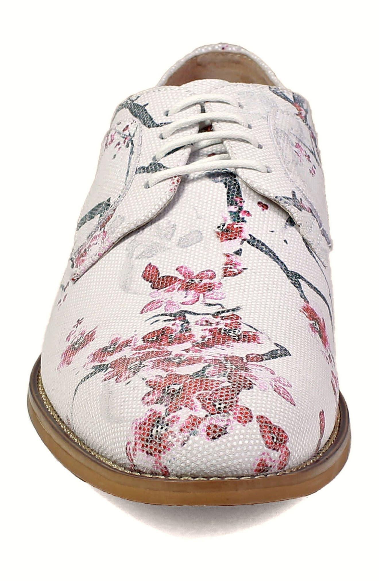 Dandy Print Plain Toe Derby,                             Alternate thumbnail 4, color,                             White Leather