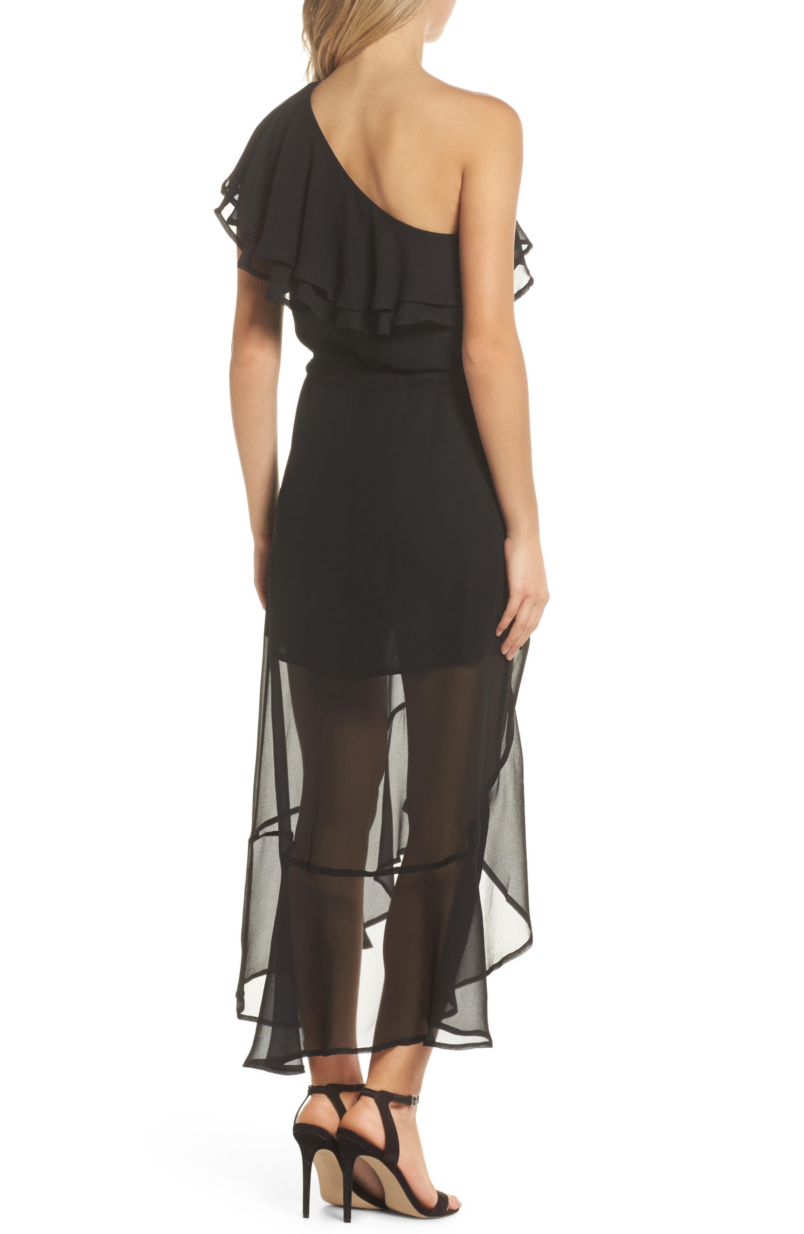 Kayla One-Shoulder Maxi Dress,                             Alternate thumbnail 2, color,                             Black