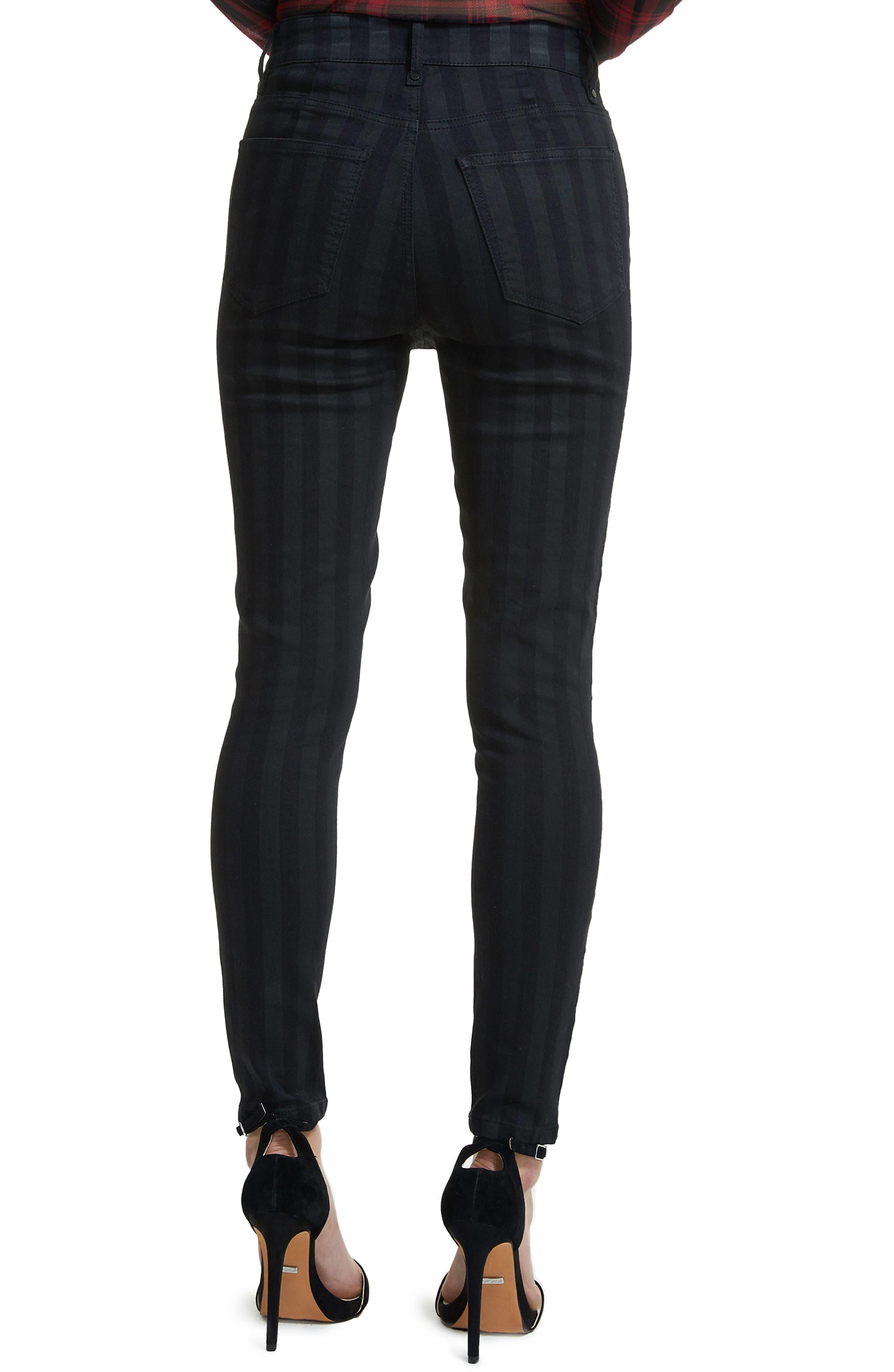 Alden Lace-Up Skinny Jeans,                             Alternate thumbnail 3, color,                             Noir Stripe