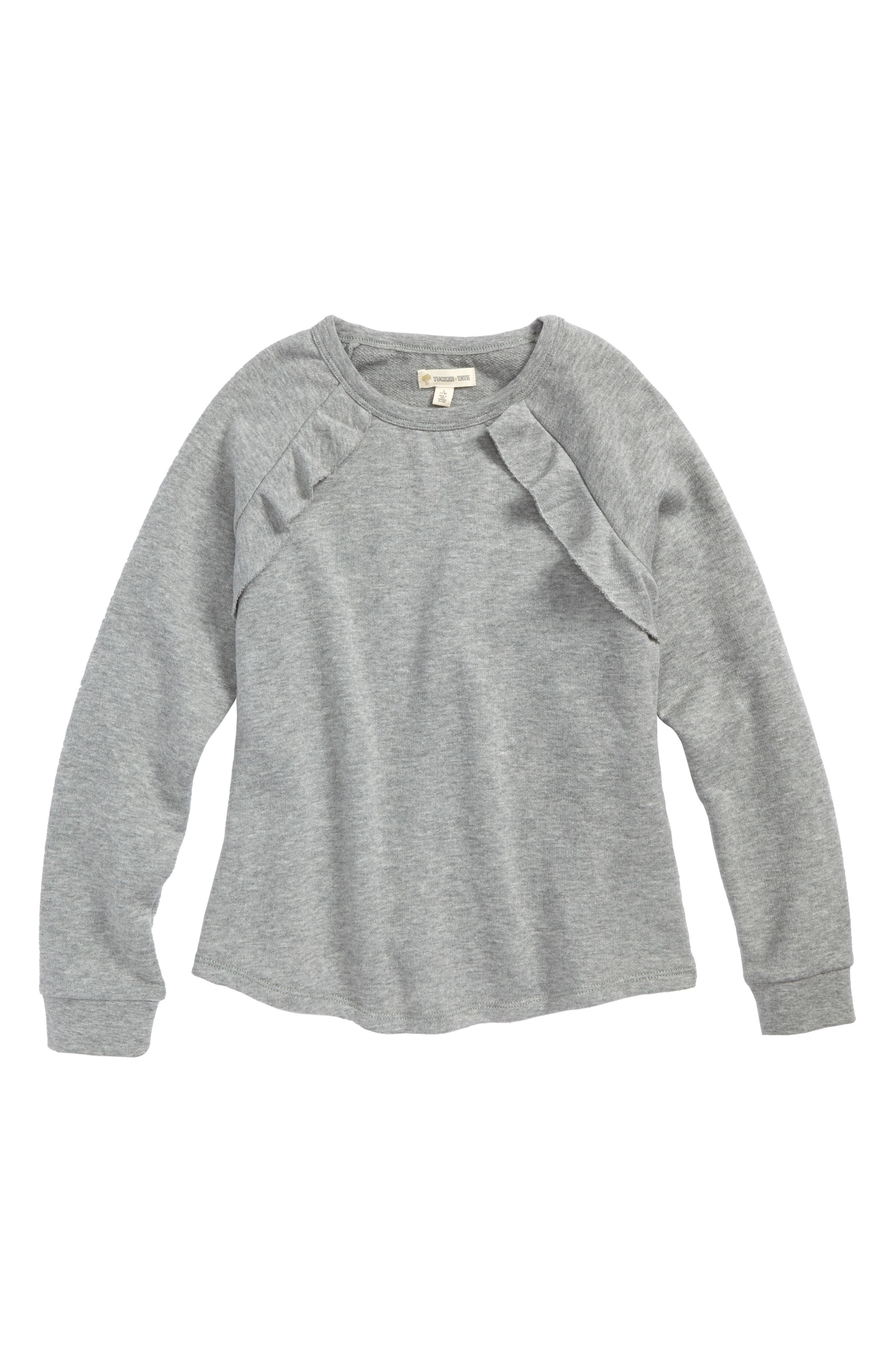 Ruffle Fleece Sweatshirt,                             Main thumbnail 1, color,                             Grey Medium Heather