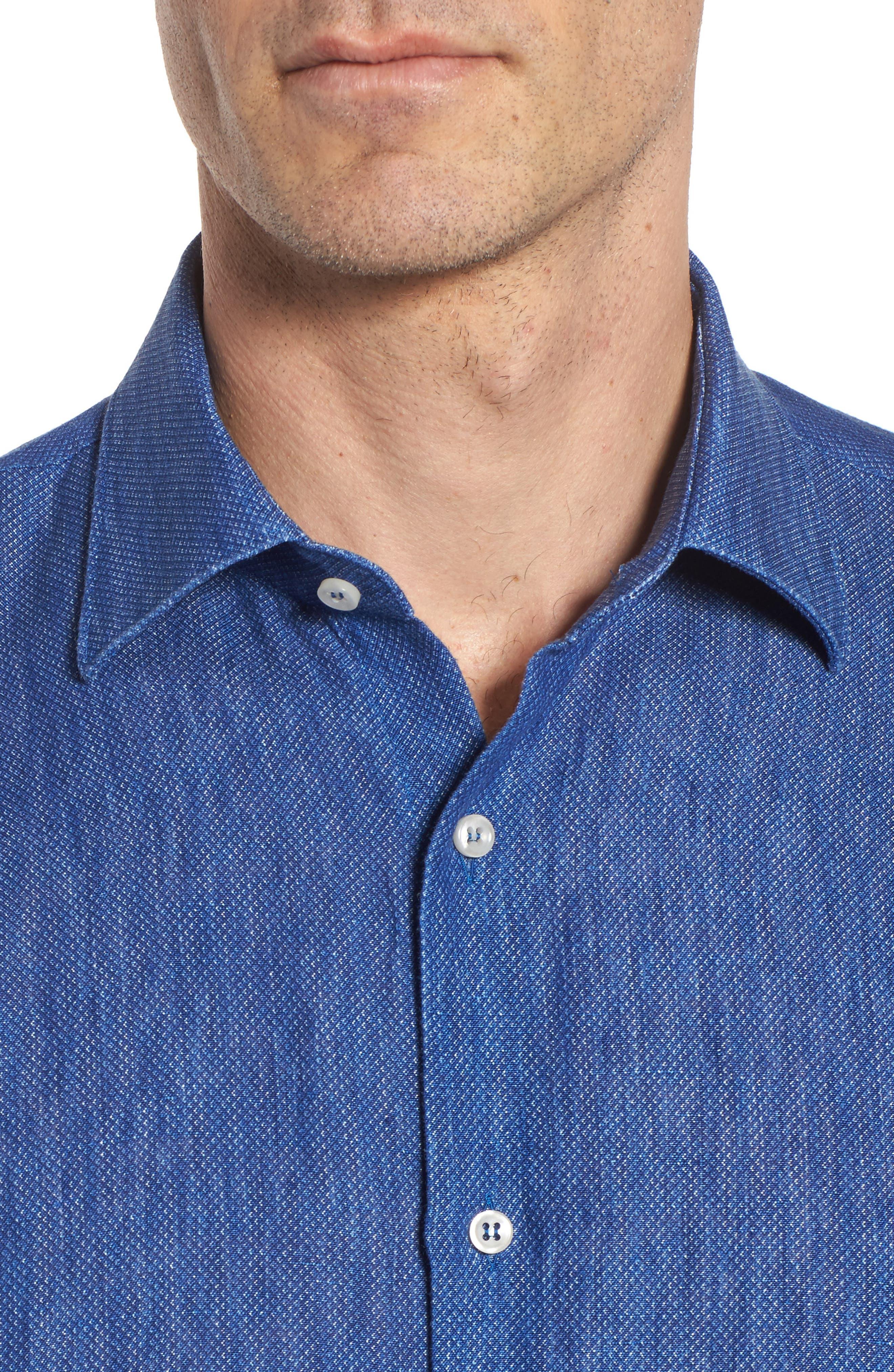 Paul&Shark Regular Fit Piqué Sport Shirt,                             Alternate thumbnail 4, color,                             Blue