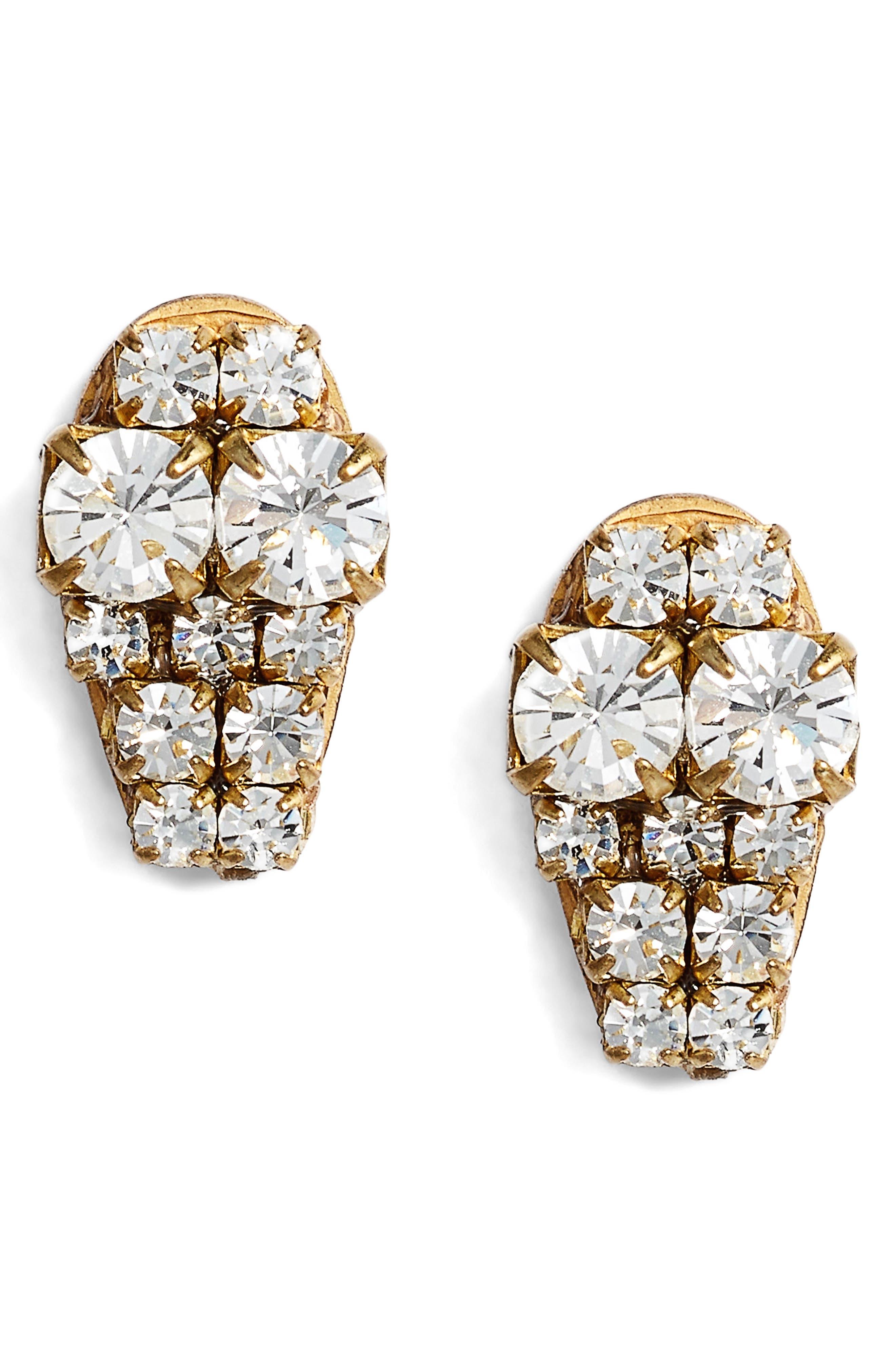Graduated Crystal Stud Earrings,                             Main thumbnail 1, color,                             Crystal/ Gold