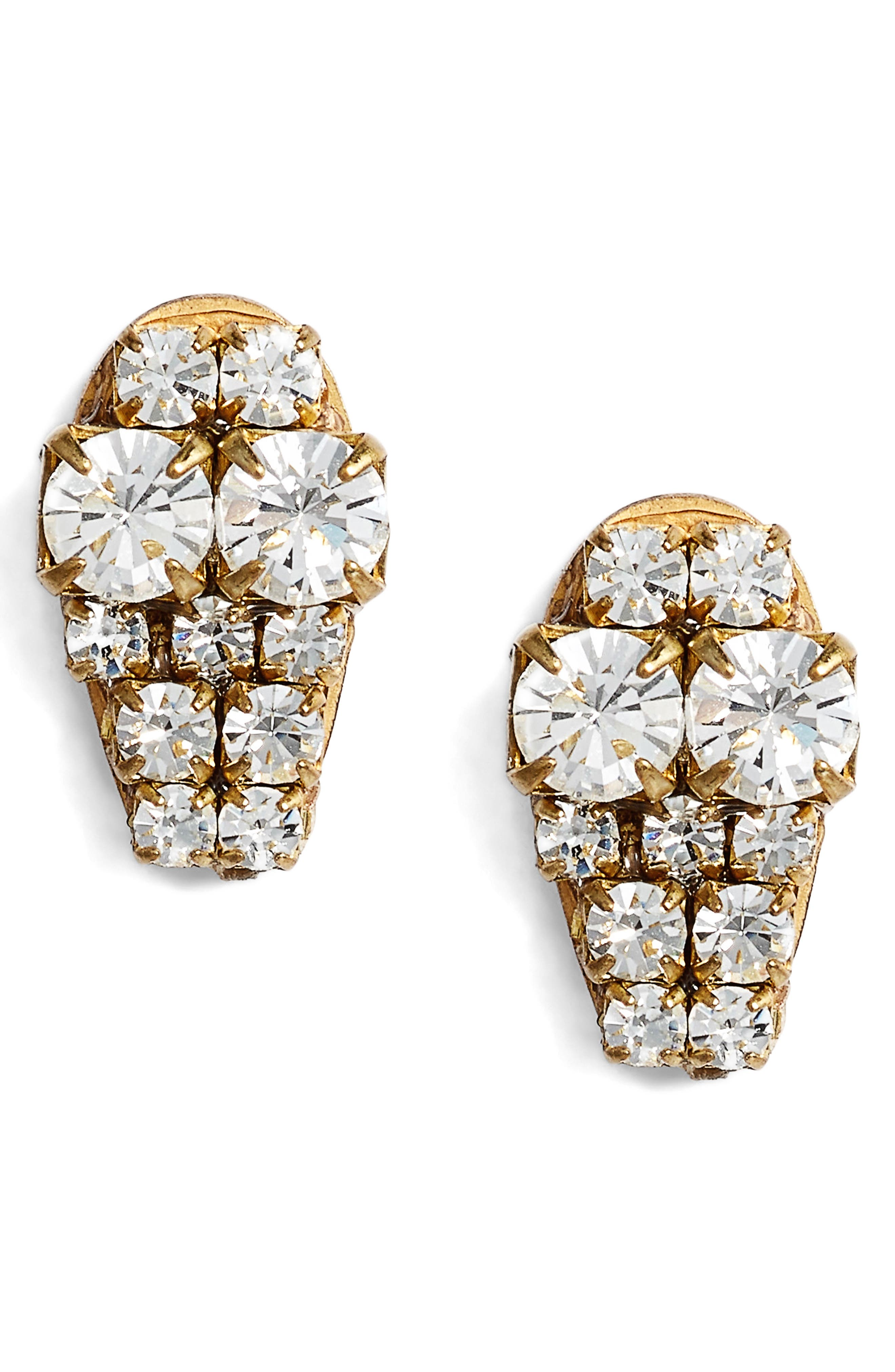 Graduated Crystal Stud Earrings,                         Main,                         color, Crystal/ Gold