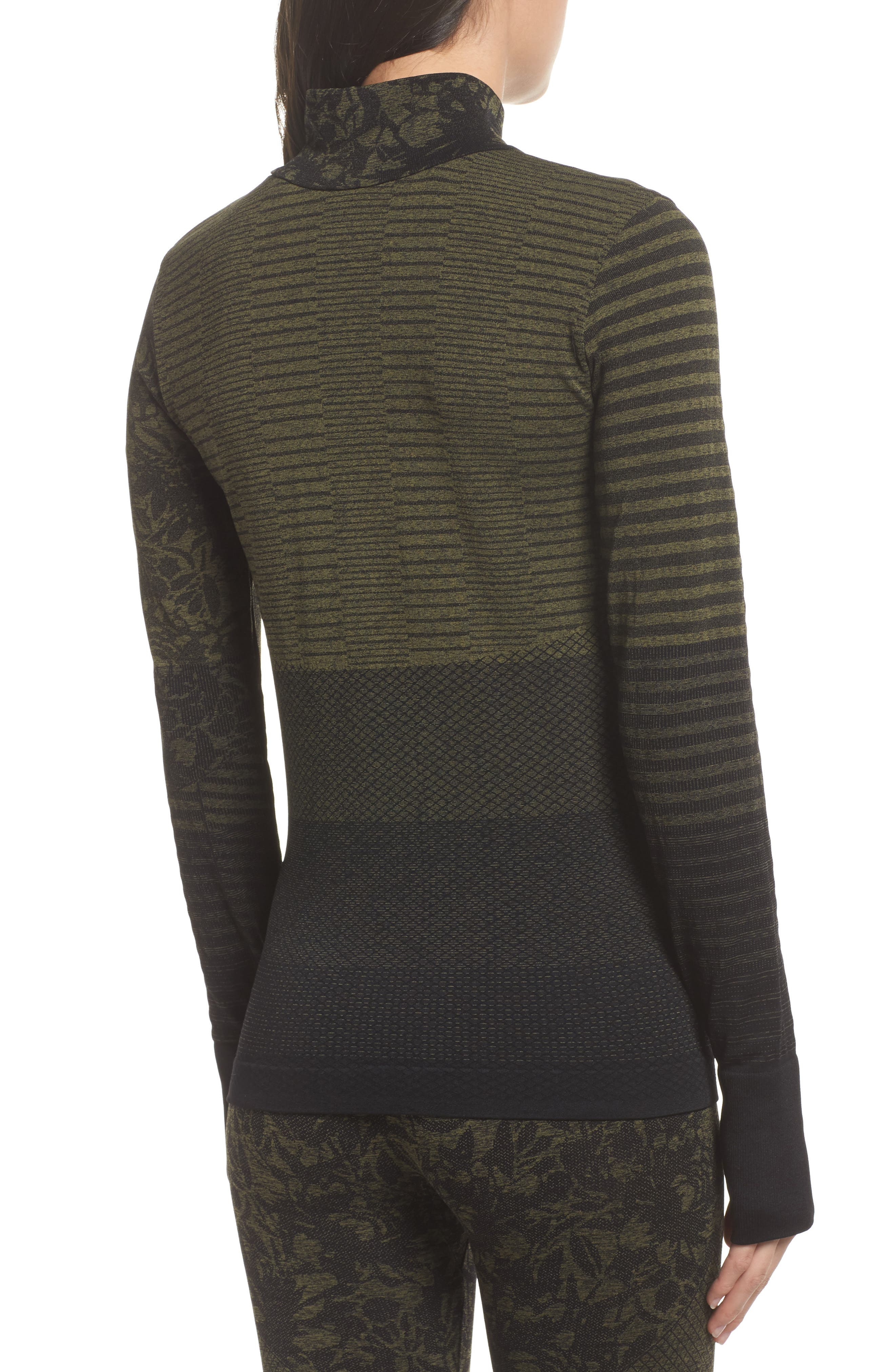 Vitality Quarter Zip Pullover,                             Alternate thumbnail 2, color,                             Deep Lichen Green/ Black