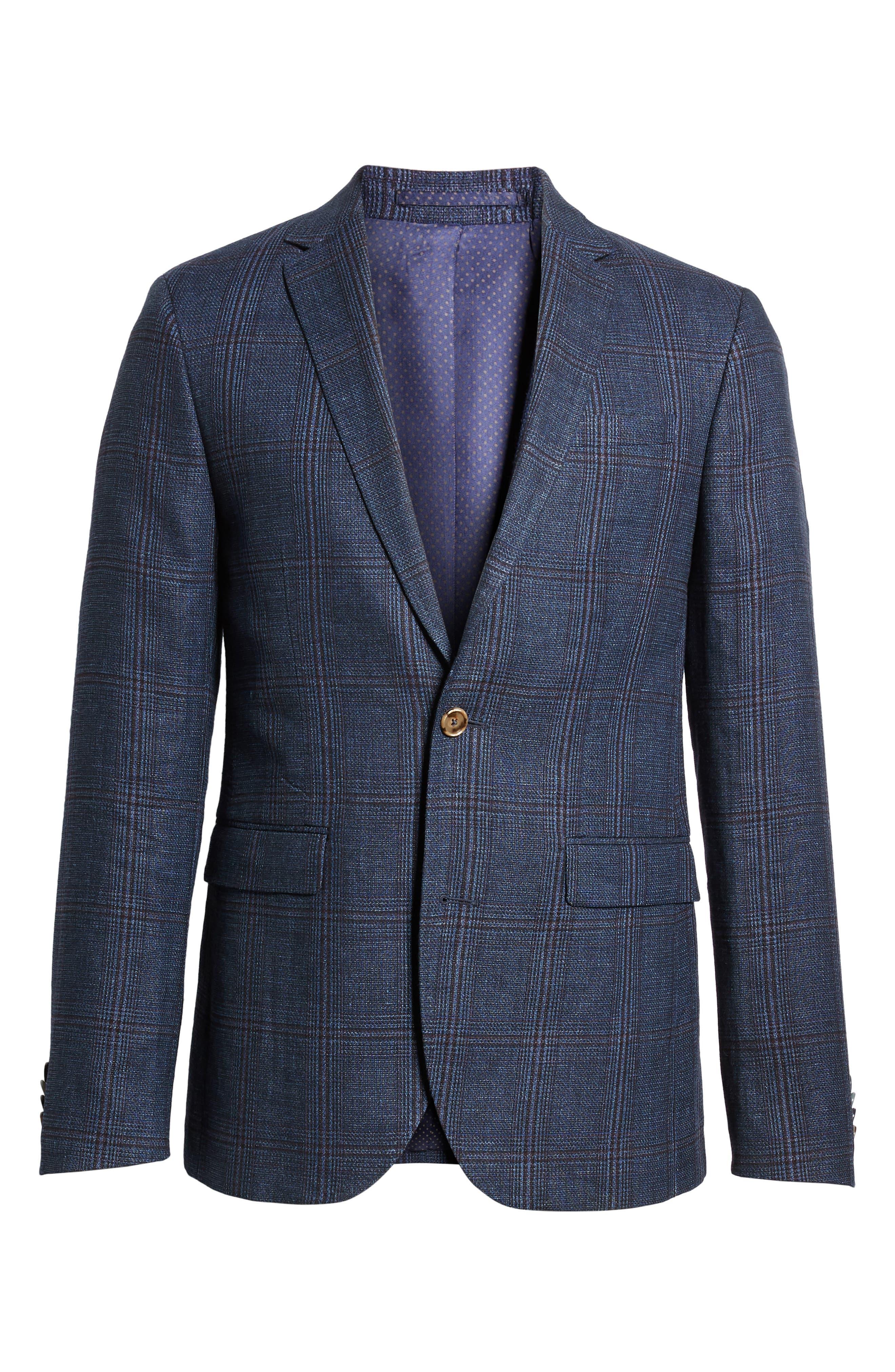 Trim Fit Plaid Linen & Wool Sport Coat,                             Alternate thumbnail 6, color,                             Navy Red