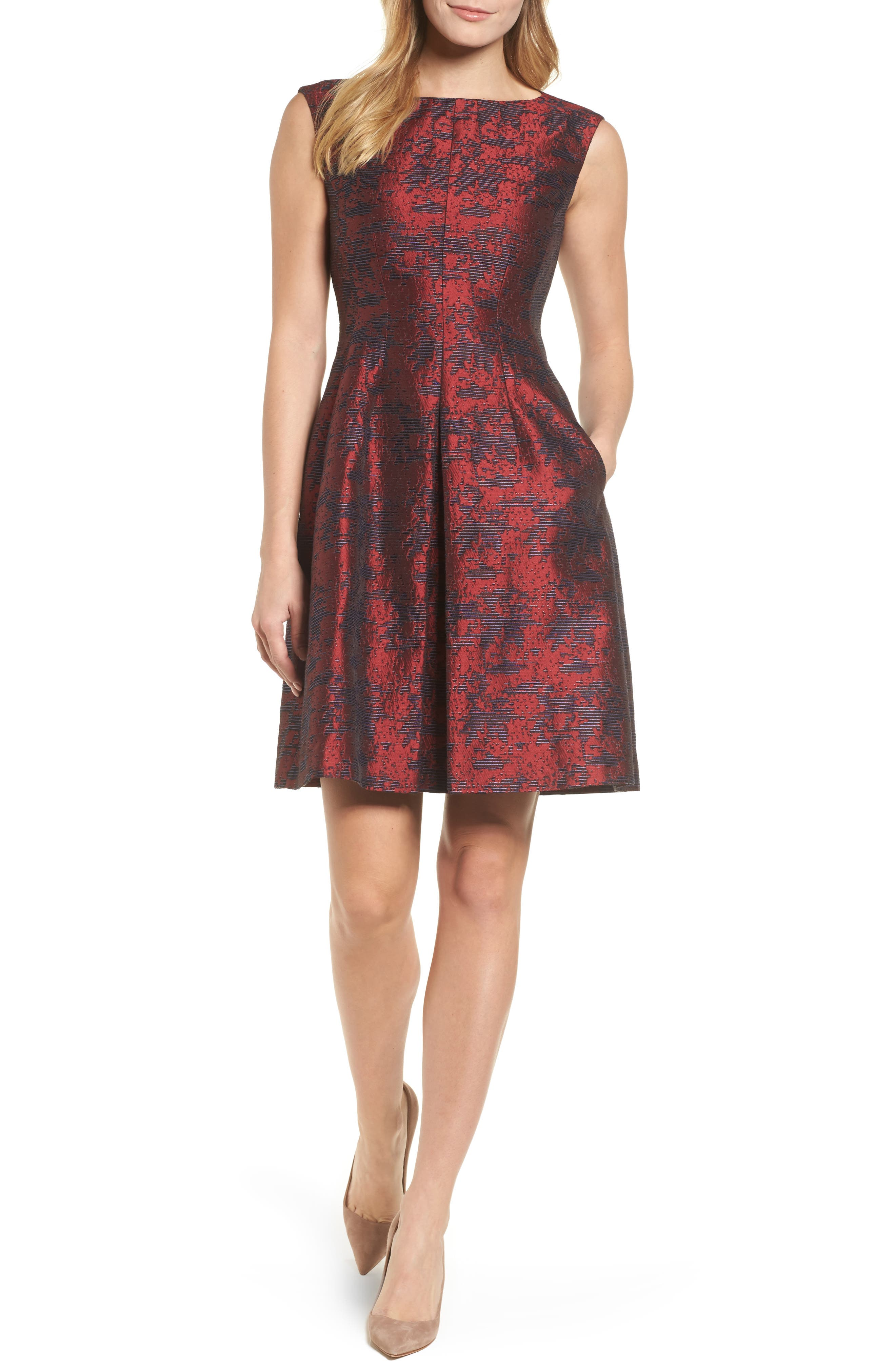 Jacquard Inverted Pleat Fit & Flare Dress,                         Main,                         color, Red Clay/ Okeeffe Blue Combo