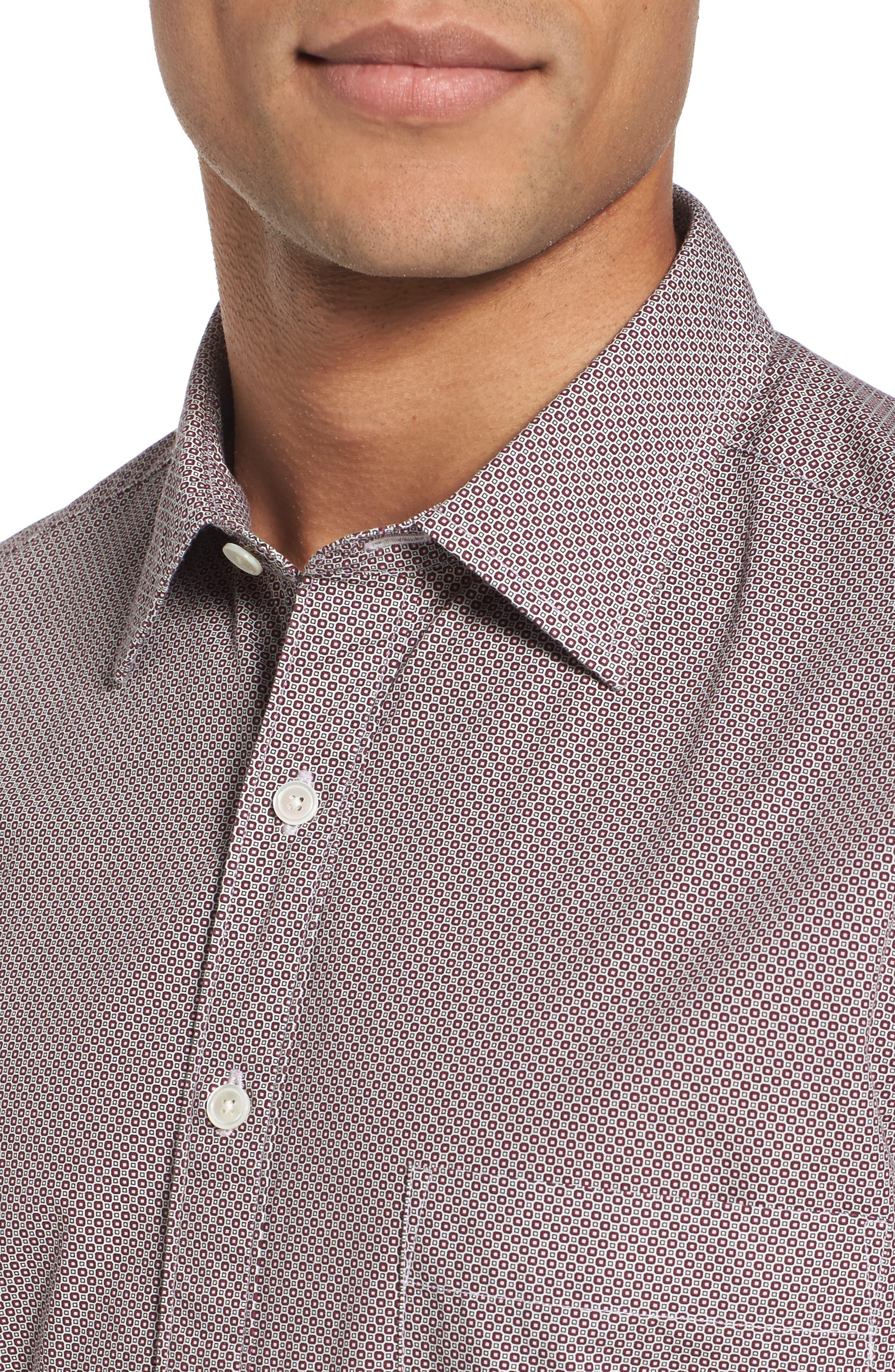 Oakhurst Sports Fit Print Sports Shirt,                             Alternate thumbnail 4, color,                             Rhubarb