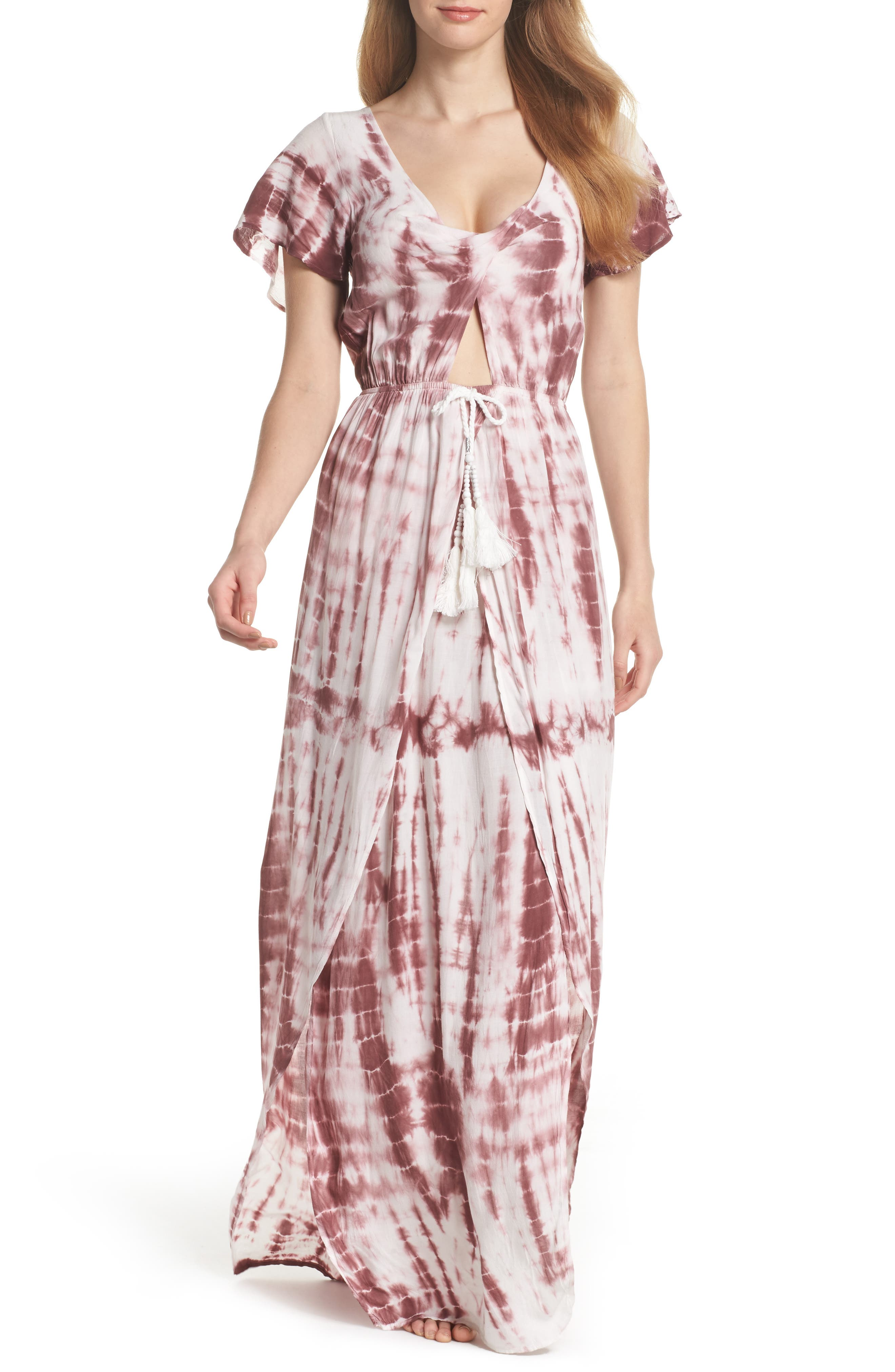 Tie Dye Cover Up,                         Main,                         color, Burgundy/ Tan