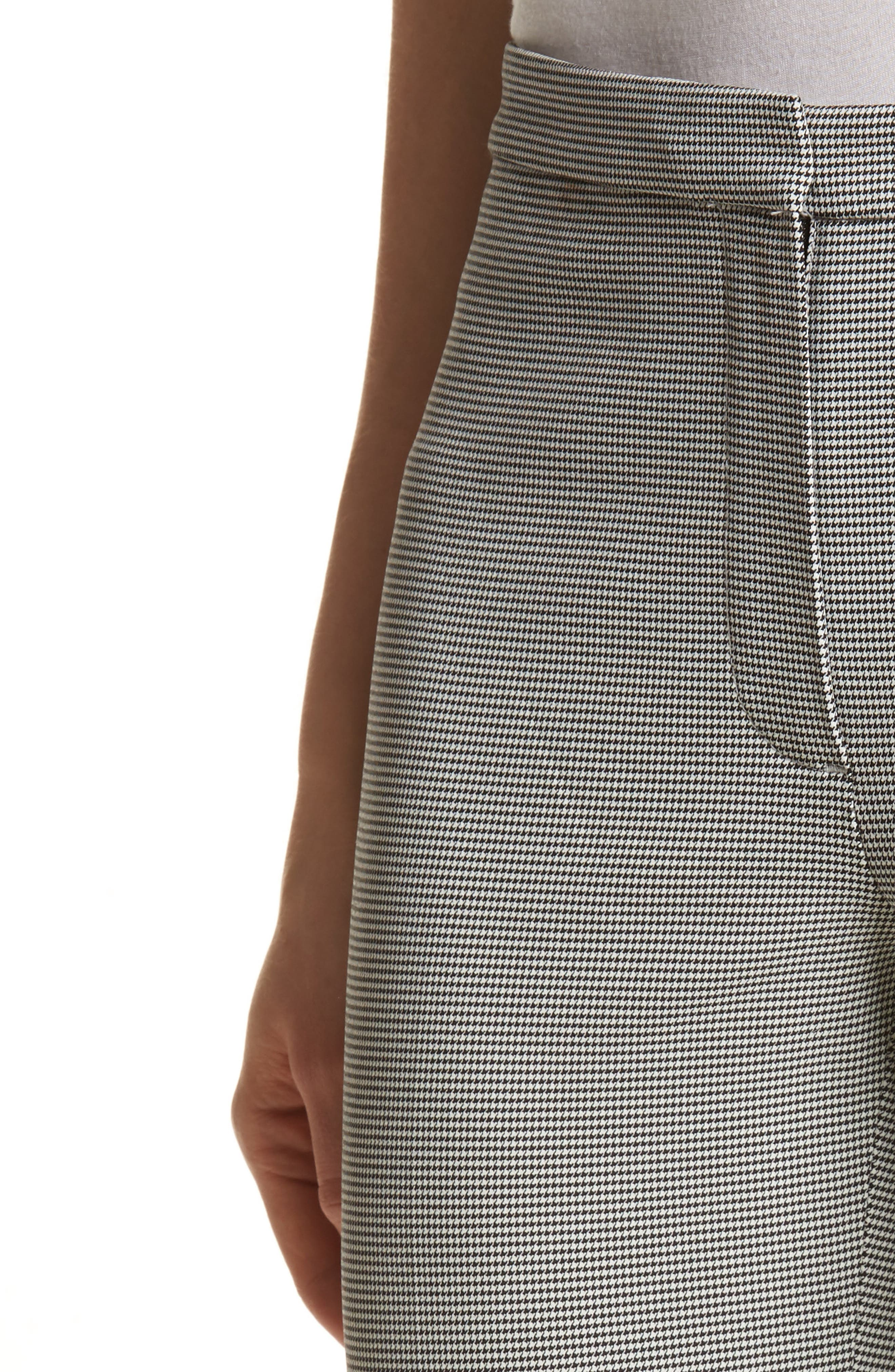 Classic Houndstooth Crop Skinny Pants,                             Alternate thumbnail 4, color,                             Black/ Ivory