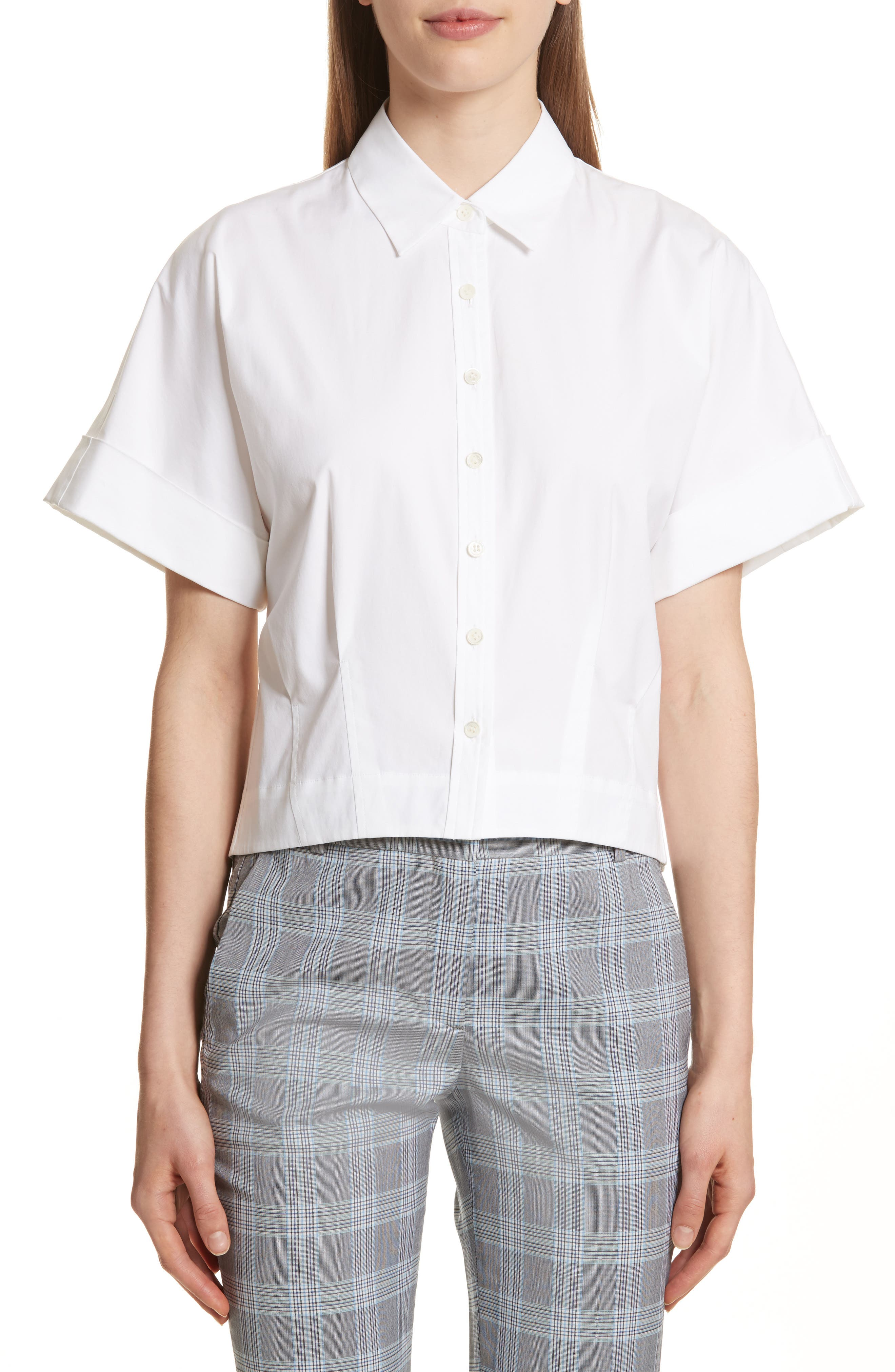 Stretch Cotton Crop Button Down Shirt,                             Main thumbnail 1, color,                             White