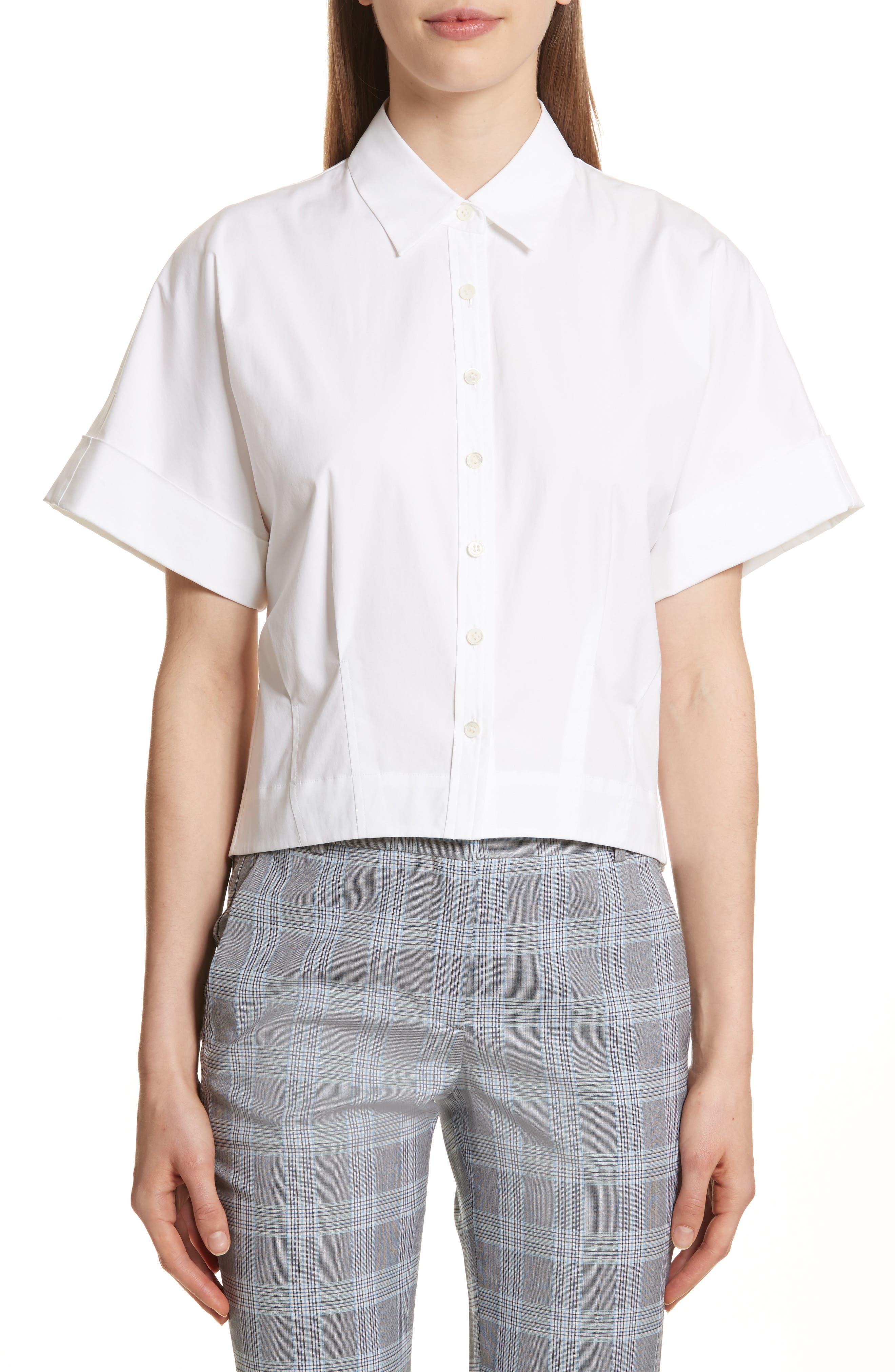 Stretch Cotton Crop Button Down Shirt,                         Main,                         color, White