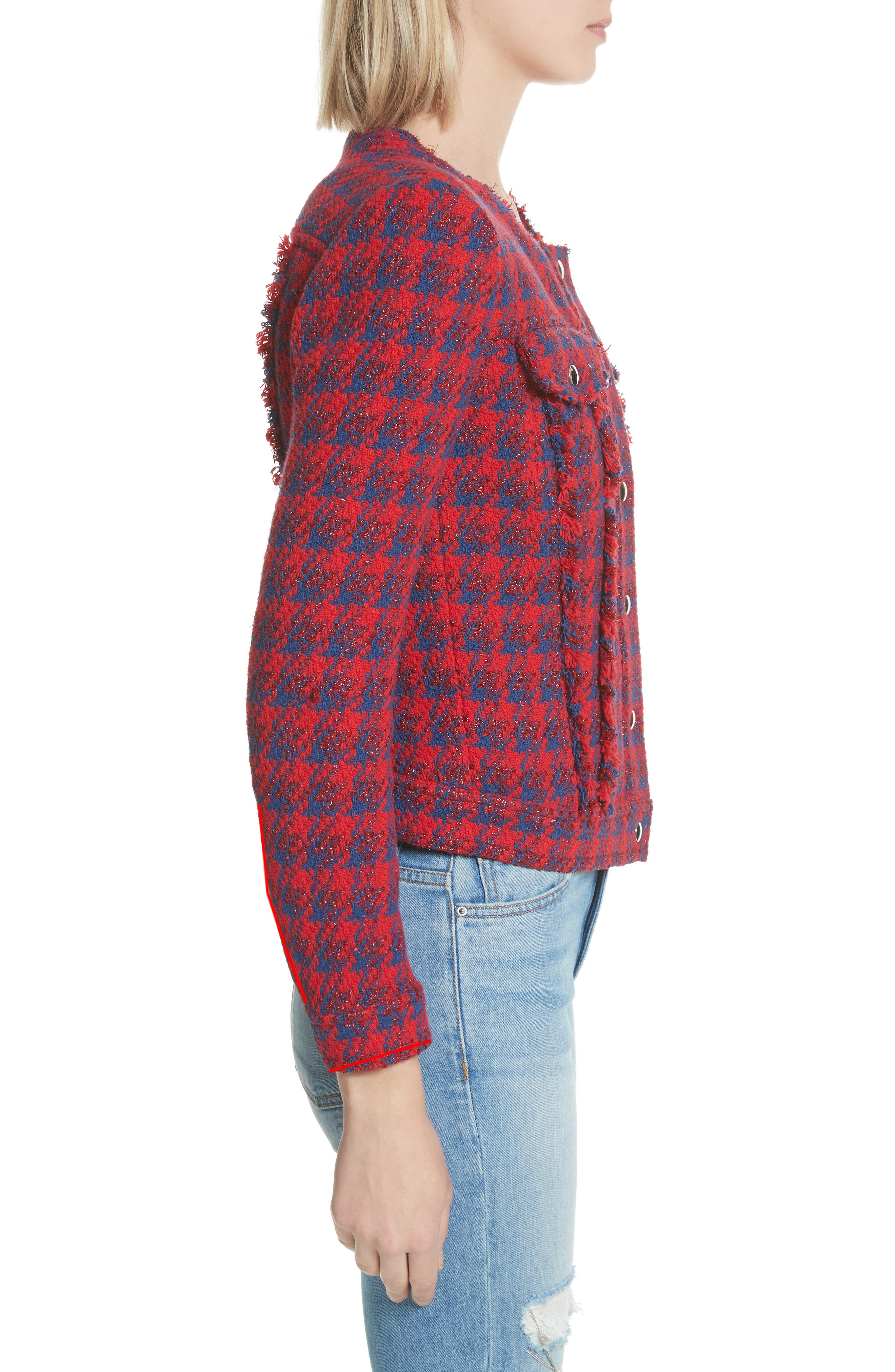 Quilombre Houndstooth Tweed Jacket,                             Alternate thumbnail 3, color,                             Red/ Blue