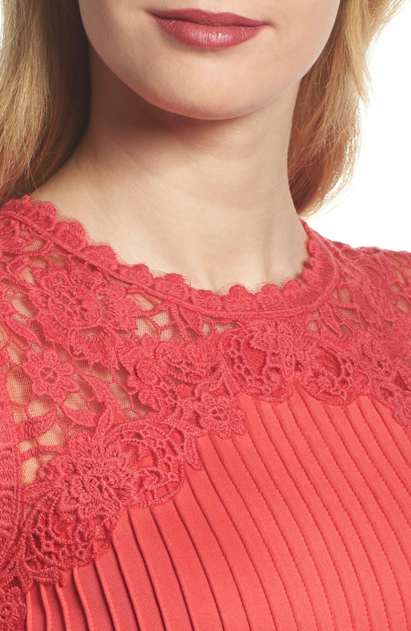 Crochet Trim Pintucked Sheath Dress,                             Alternate thumbnail 4, color,                             Pop Red
