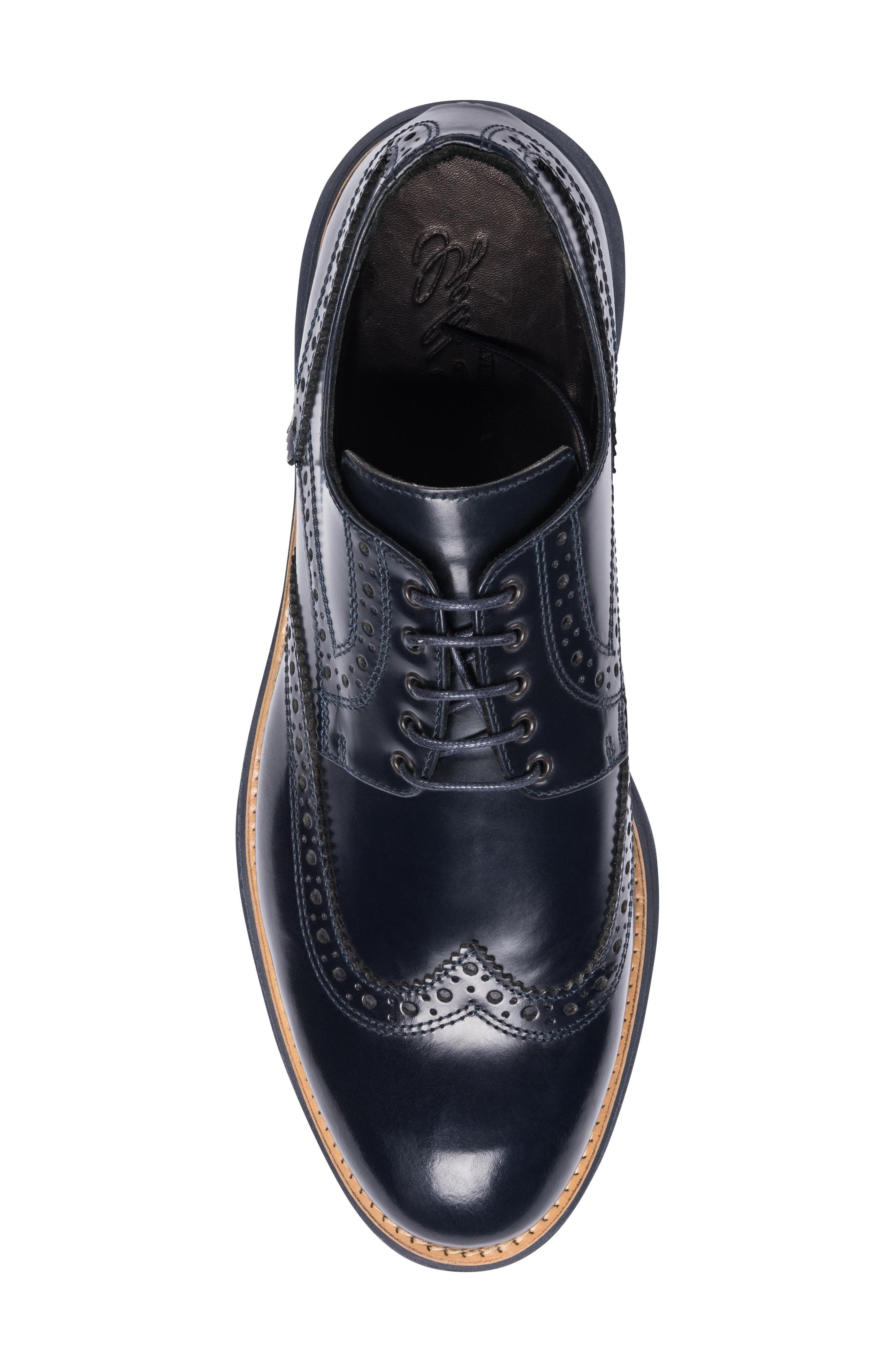 Novara Wingtip Derby,                             Alternate thumbnail 5, color,                             Navy Leather