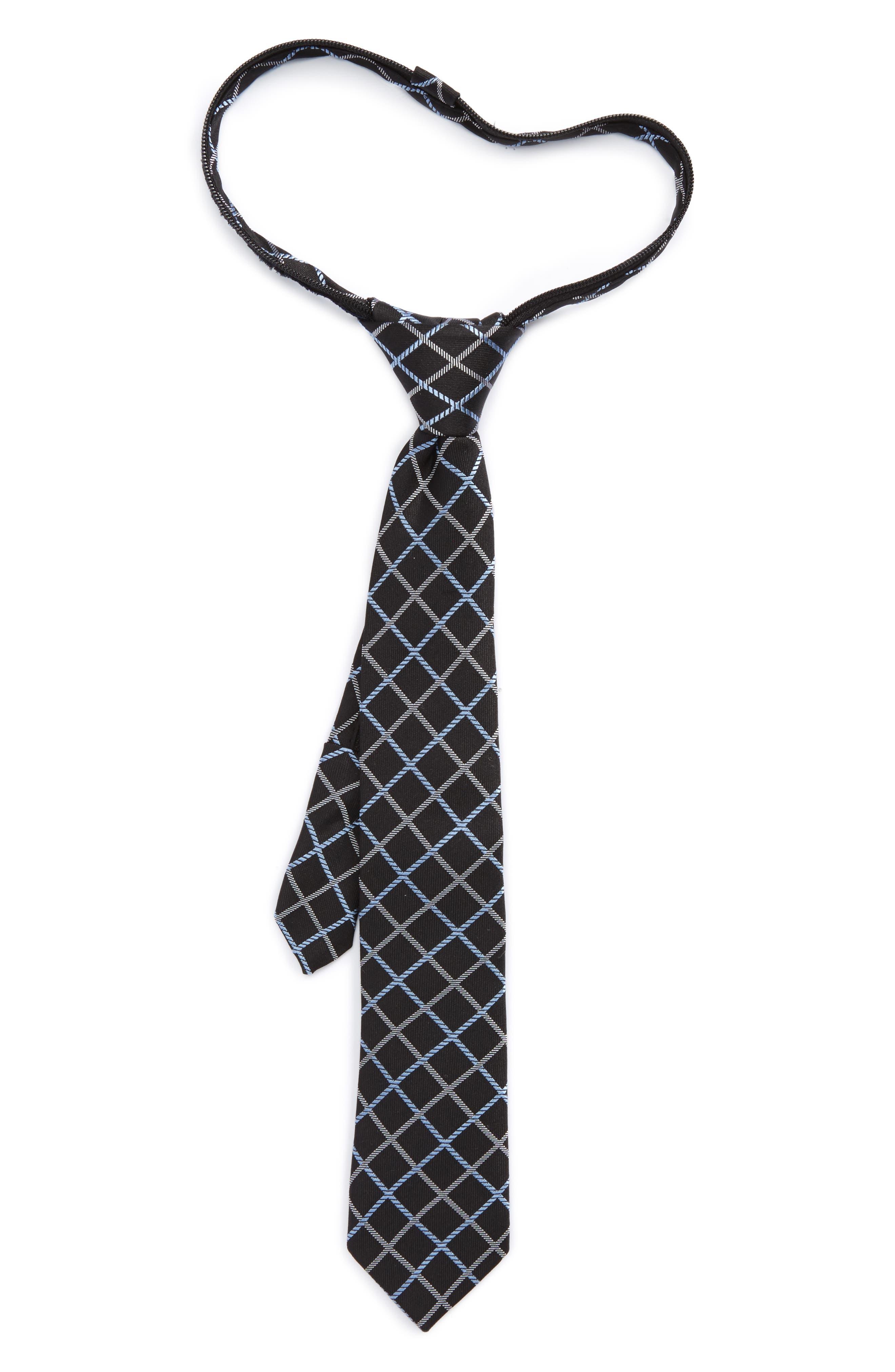 Plaid Silk Zip Tie,                             Main thumbnail 1, color,                             Black