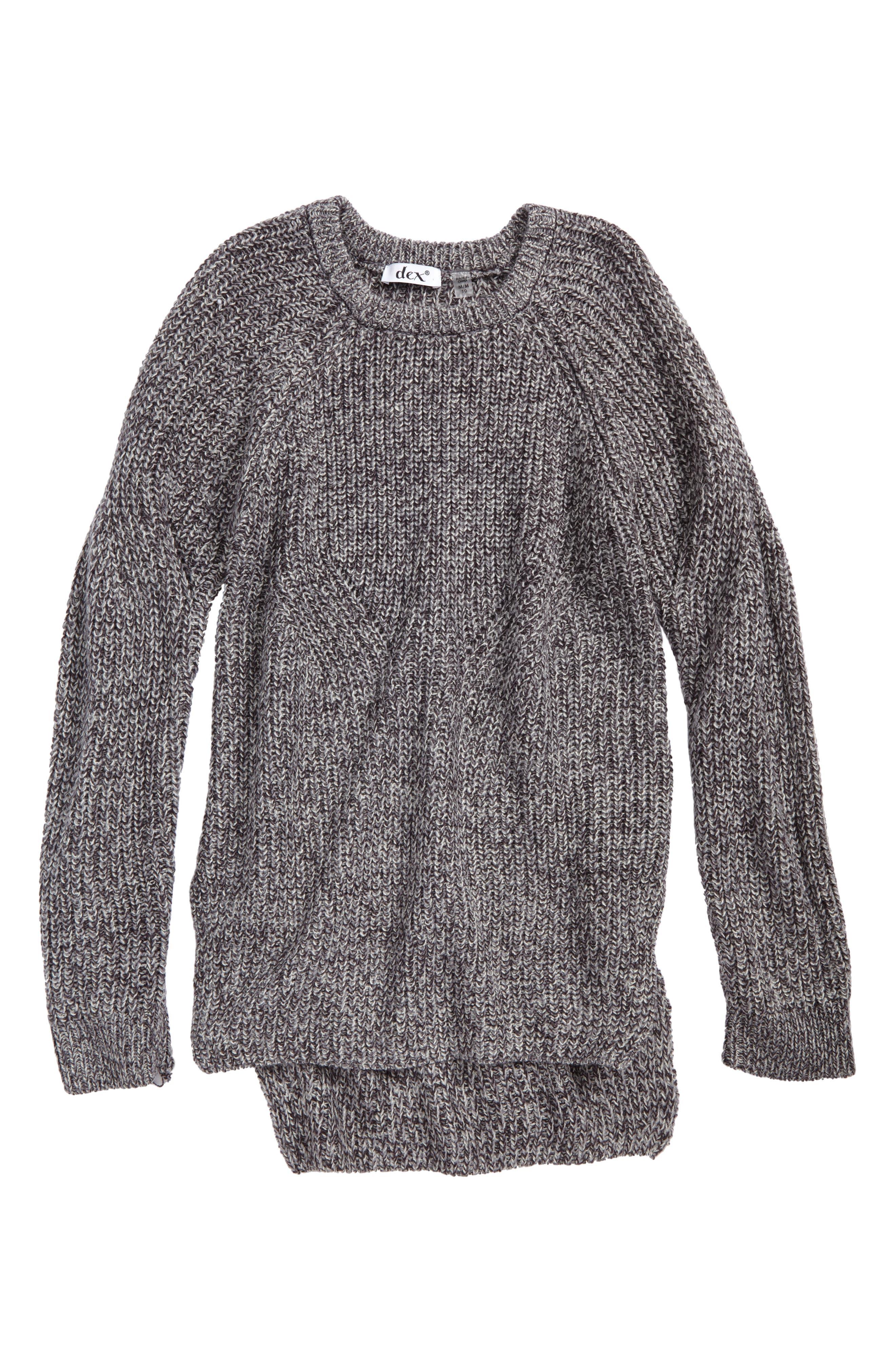Rib Knit Sweater,                         Main,                         color, Grey Twist