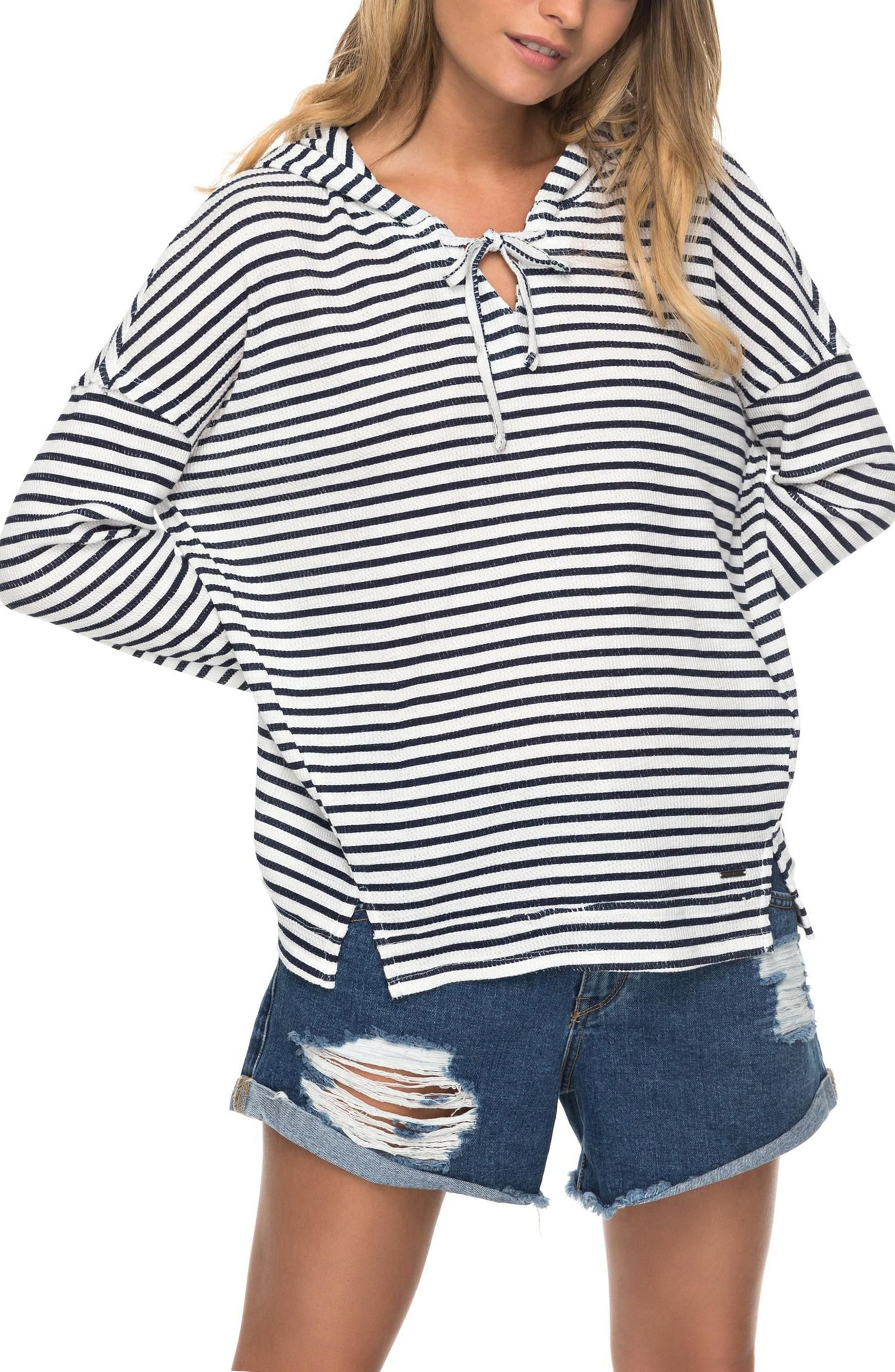 Wanted and Wild Thermal Hooded Top,                             Main thumbnail 1, color,                             Marshmallow Classic Stripe Vol