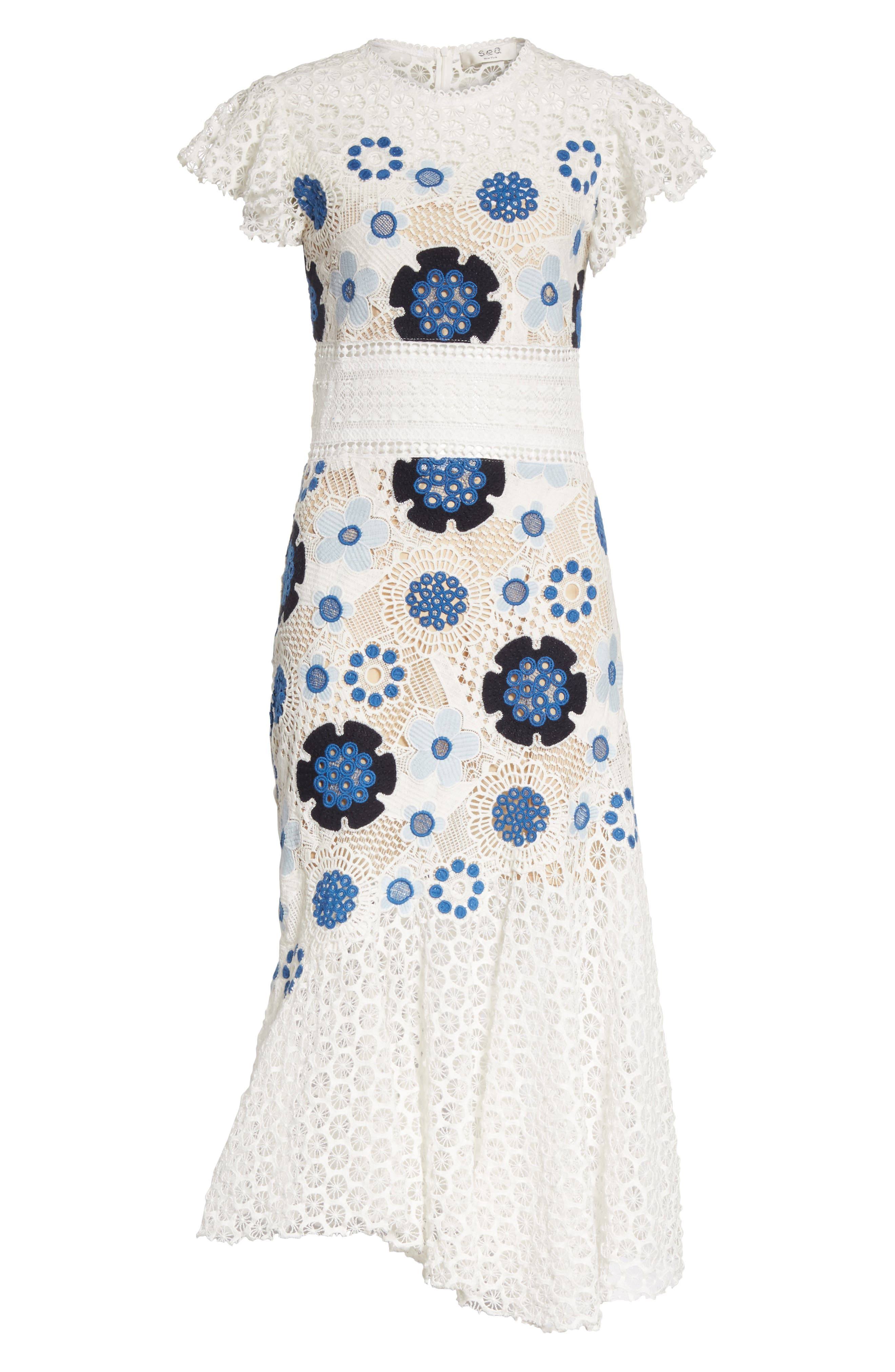 Figgy Crochet Dress,                             Alternate thumbnail 6, color,                             Cream/ Blue Multi