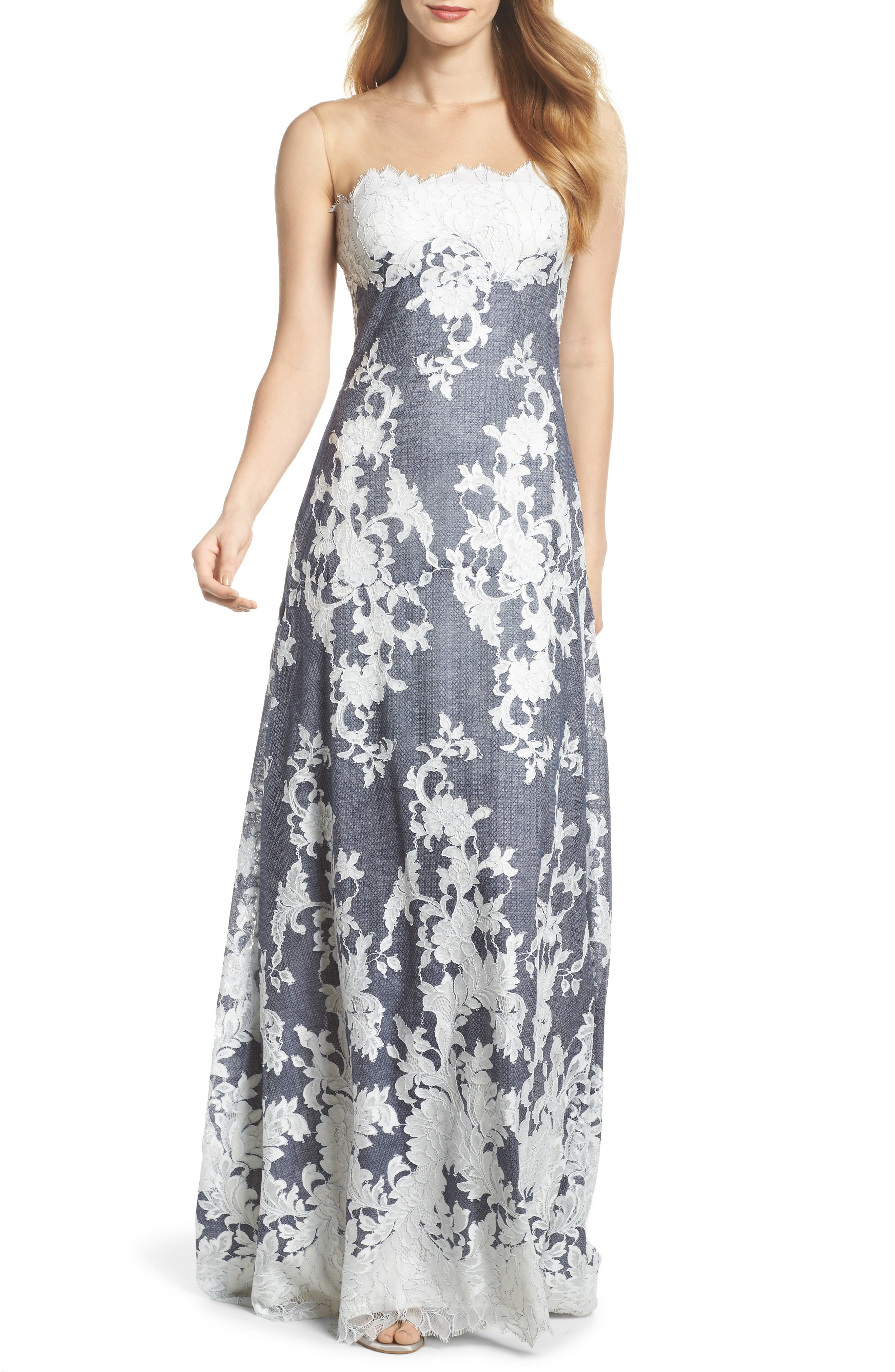 Illusion Neck Embroidered Gown,                             Main thumbnail 1, color,                             Navy/ Ivory