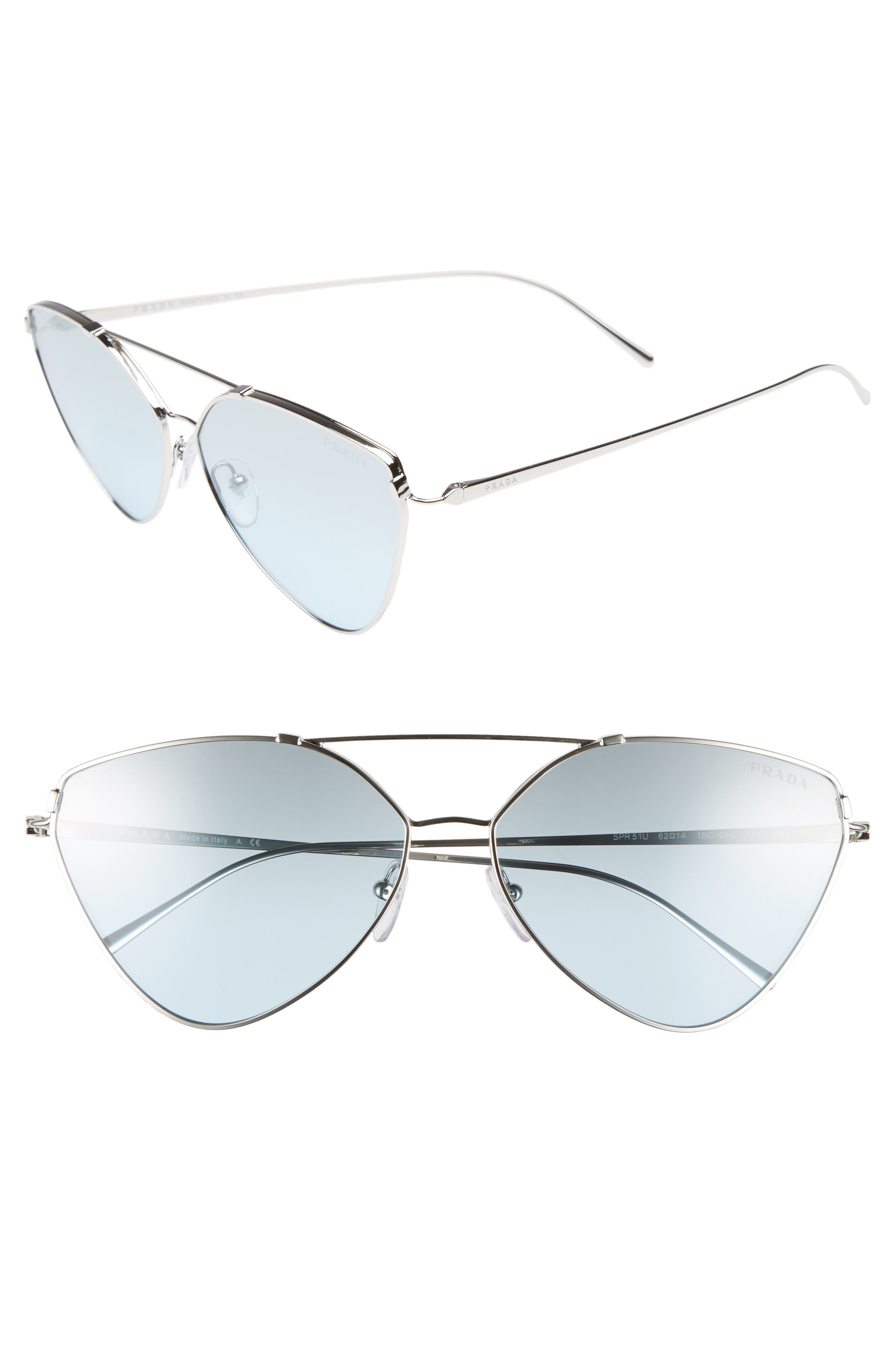 62mm Oversize Aviator Sunglasses,                             Main thumbnail 1, color,                             Silver