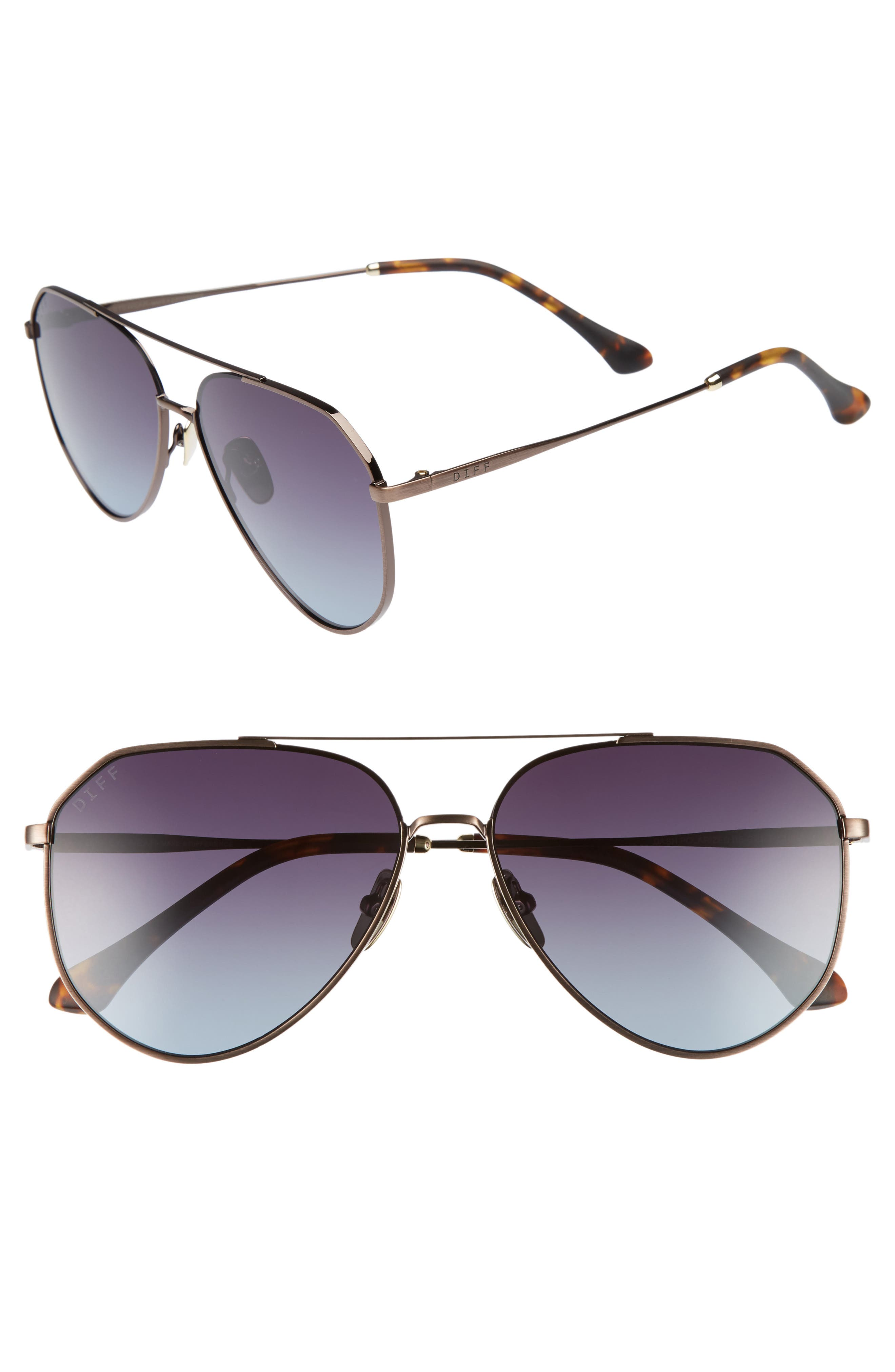 Main Image - DIFF Dash 58mm Aviator Sunglasses