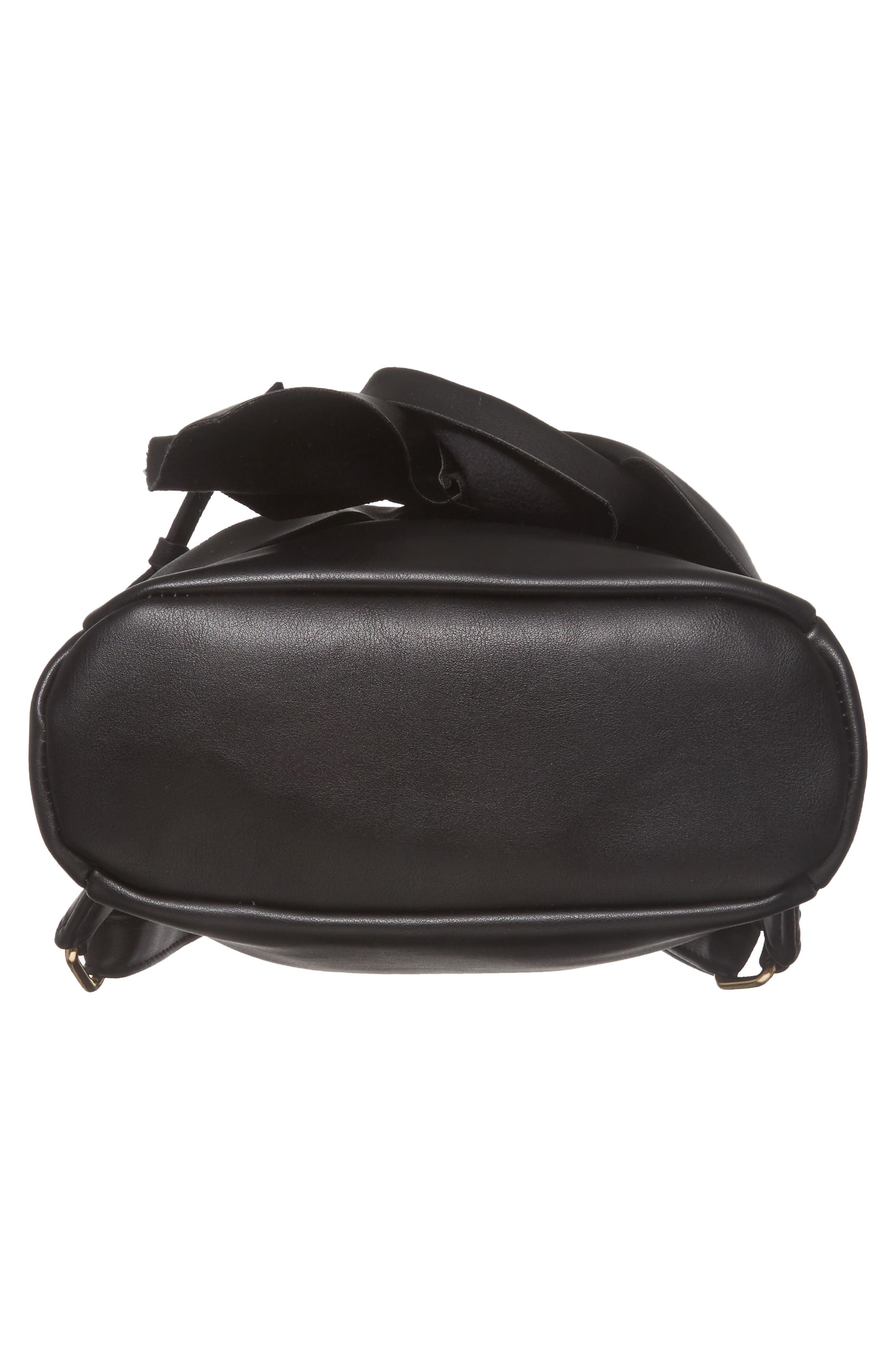 Imitation Pearl Handle Bow Mini Backpack,                             Alternate thumbnail 6, color,                             Black
