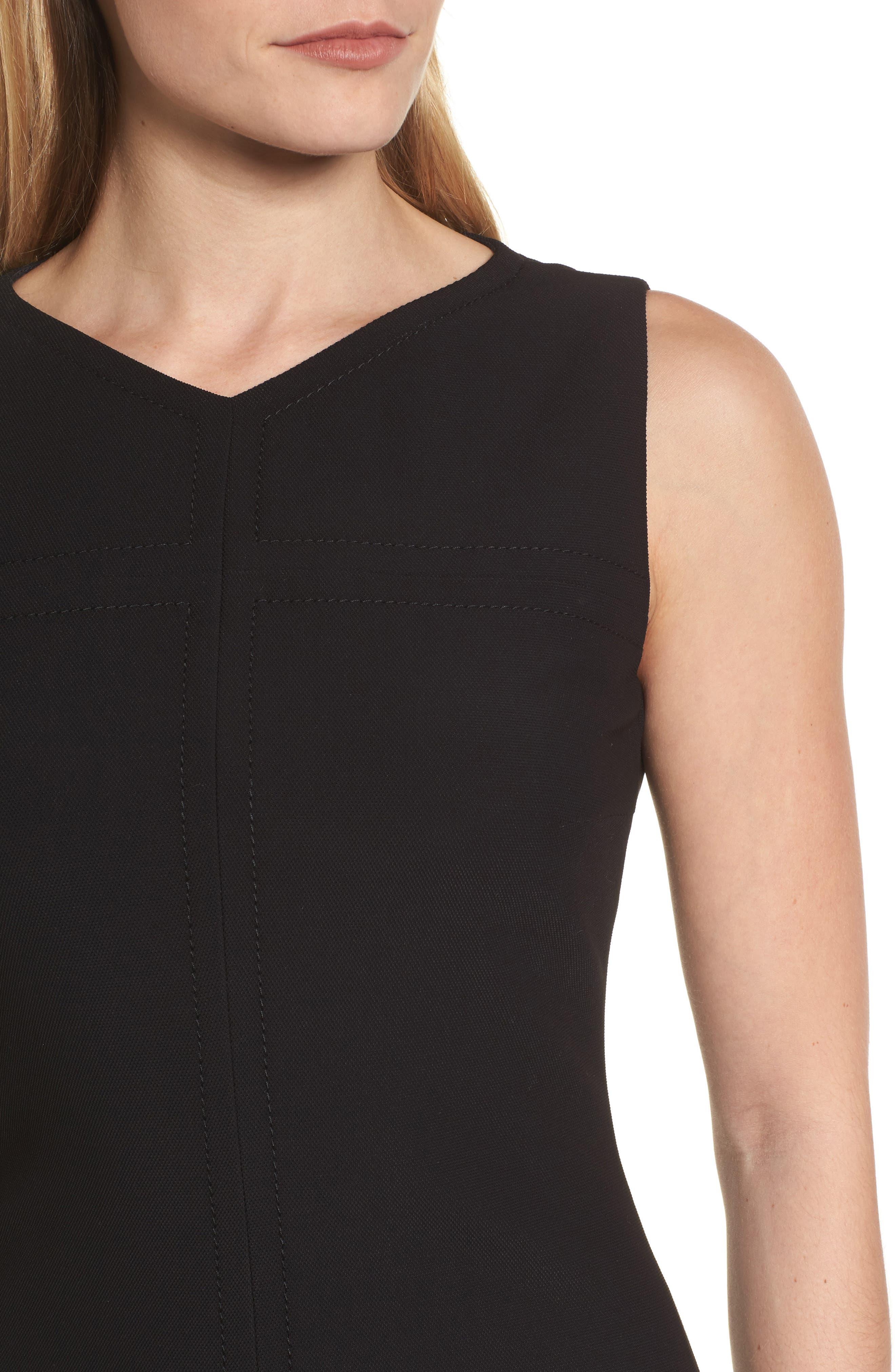 Dilamena Crepe Sheath Dress,                             Alternate thumbnail 4, color,                             Black