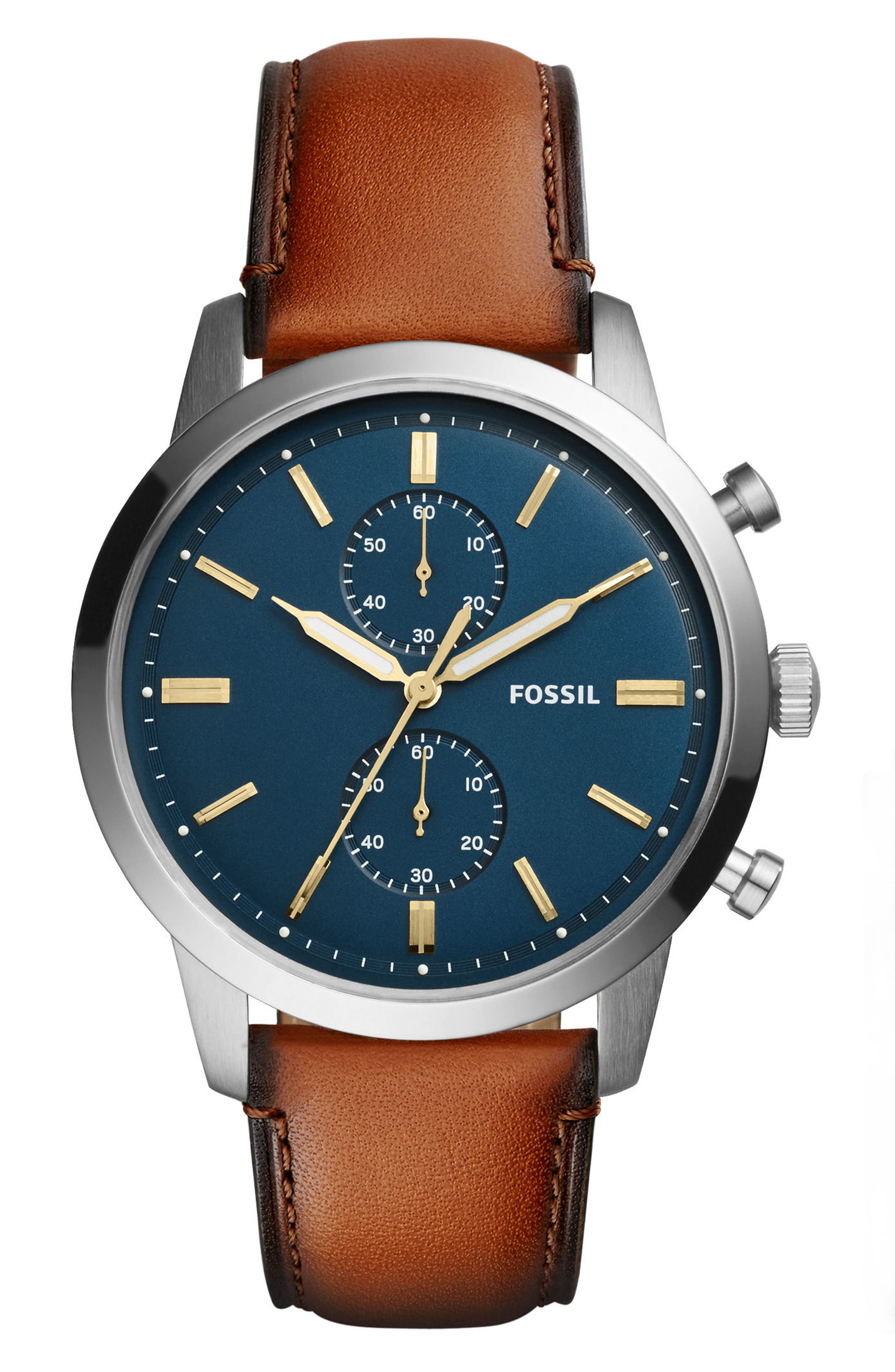 Townsman Chronograph Leather Strap Watch & Wallet Set, 44mm,                         Main,                         color, Brown/ Blue/ Silver