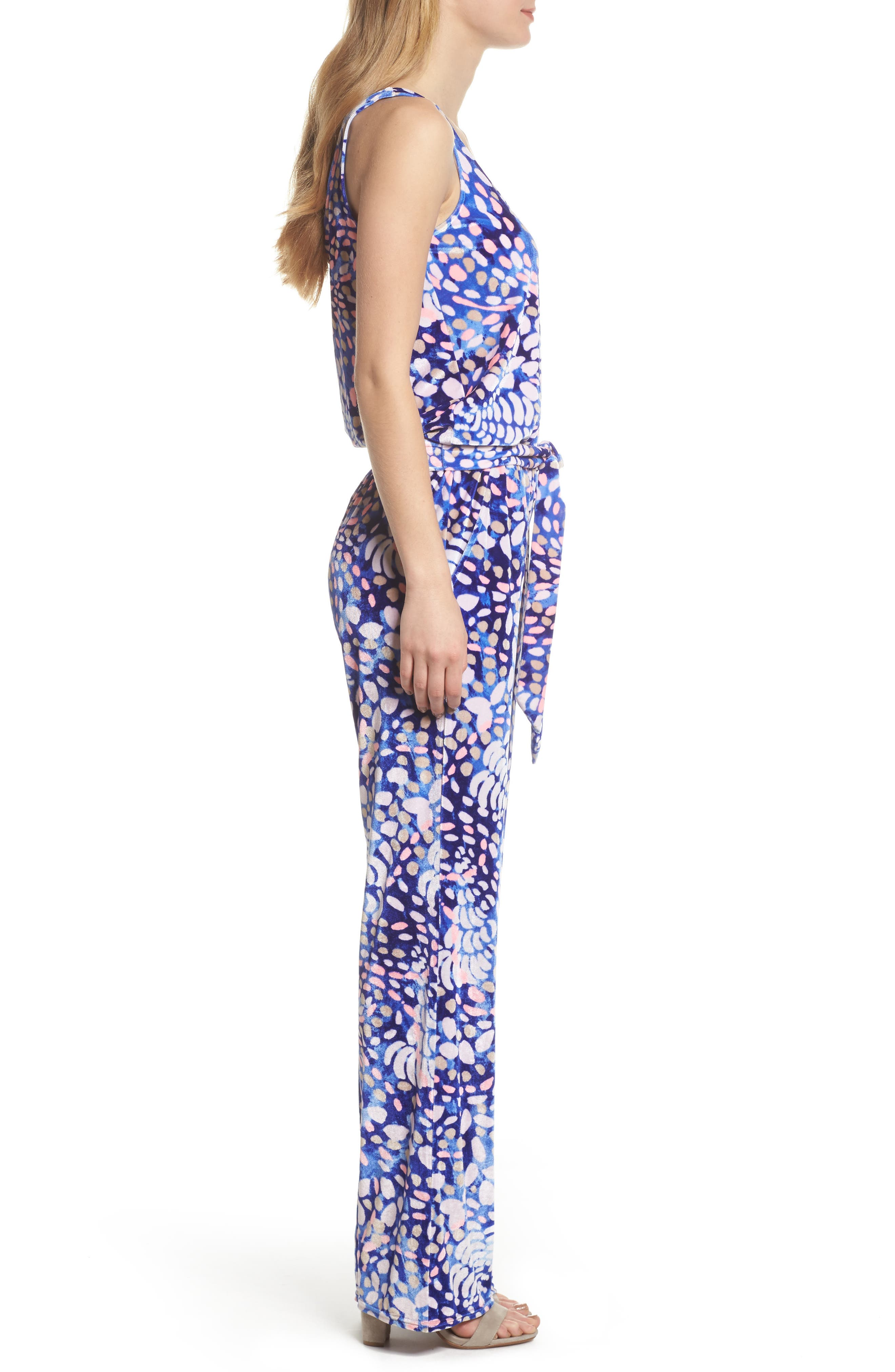Nena Velour Jumpsuit,                             Alternate thumbnail 3, color,                             Beckon Blue Sparkling Grotto