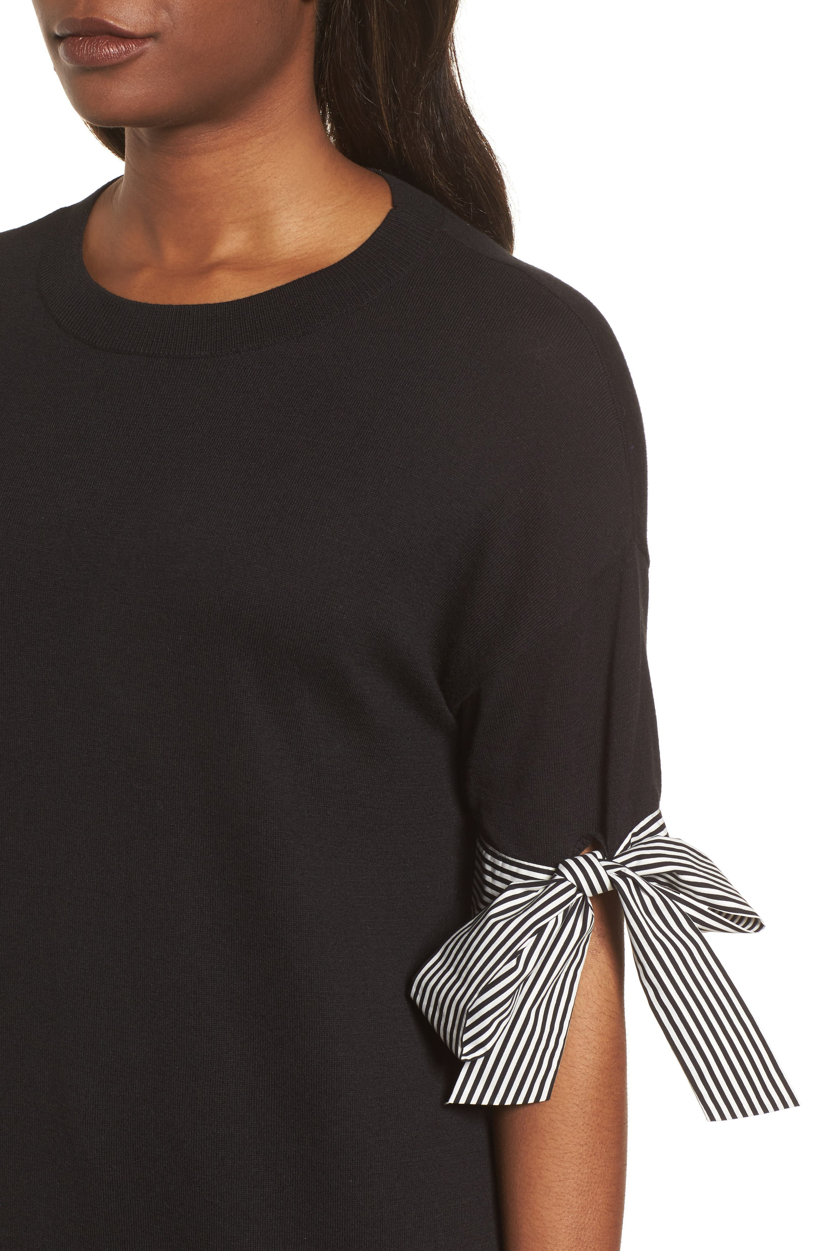 Poplin Bow Detail Sweater,                             Alternate thumbnail 4, color,                             Black