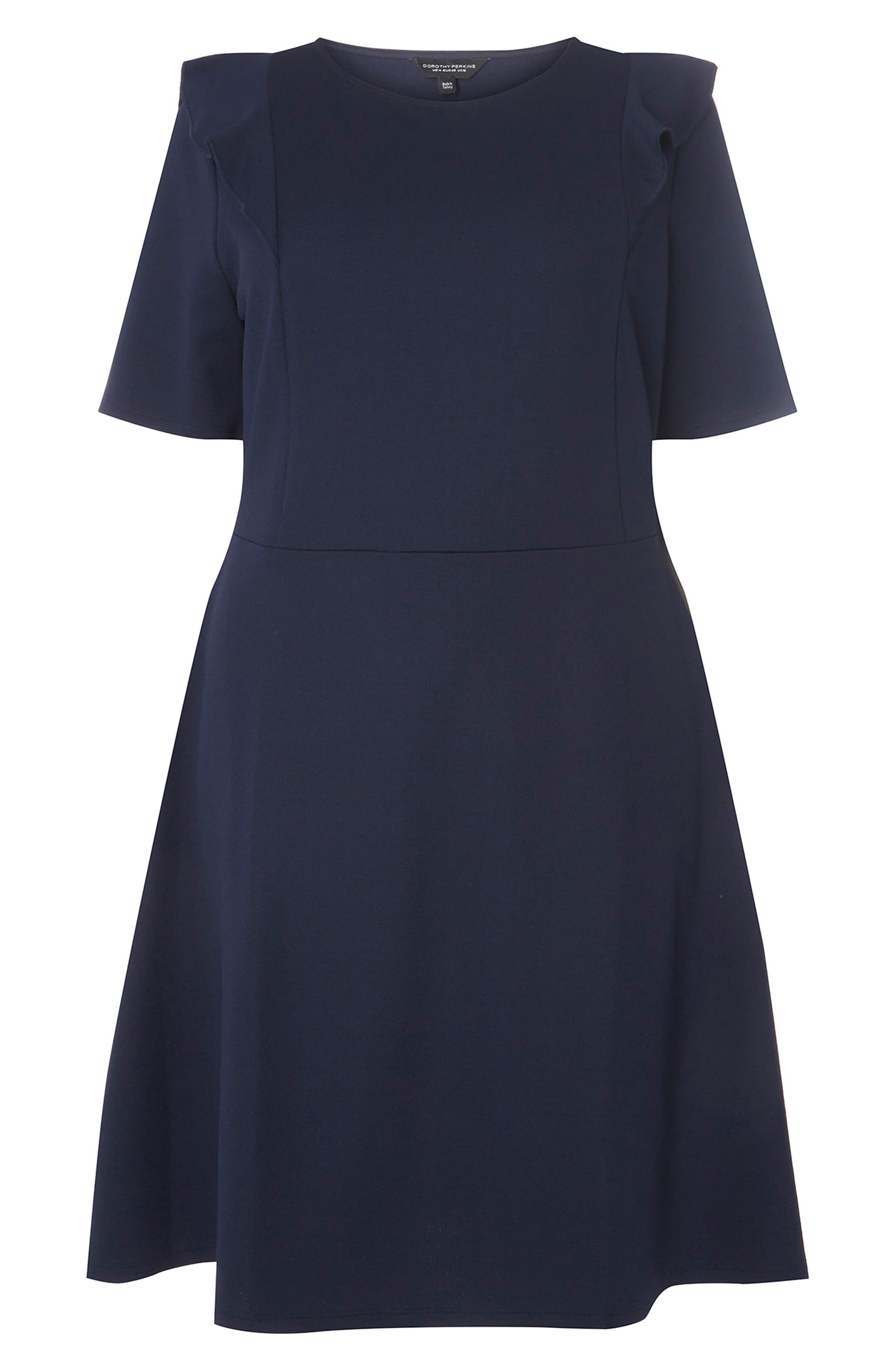 Ruffle Shoulder Knit Dress,                             Alternate thumbnail 4, color,                             Navy