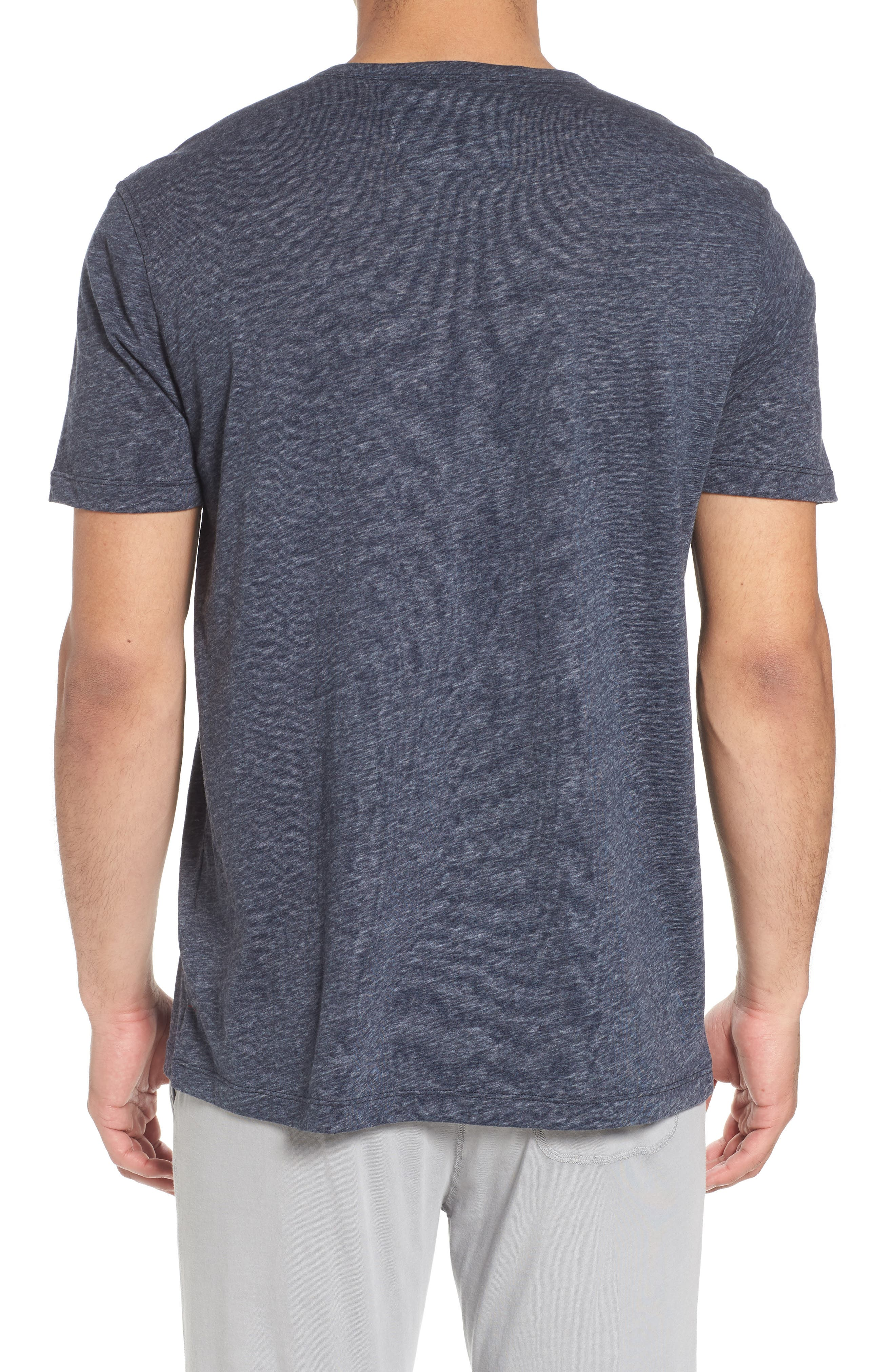 Short Sleeve Recycled Cotton Blend Henley,                             Alternate thumbnail 2, color,                             Navy Heather