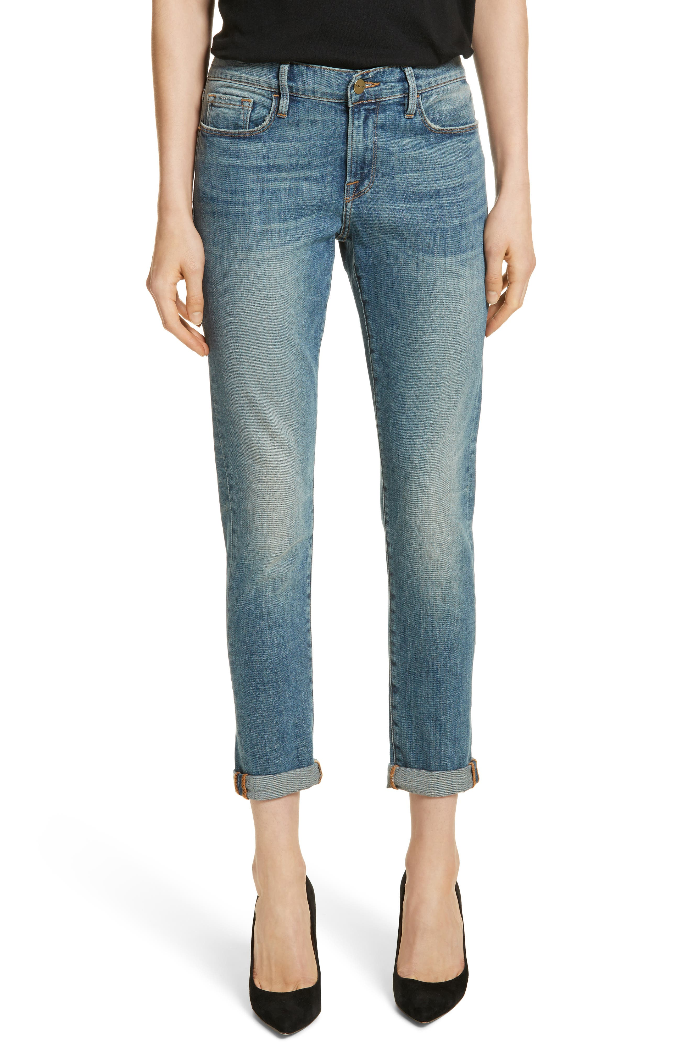Le Garçon Crop Boyfriend Jeans,                         Main,                         color, Kaufman